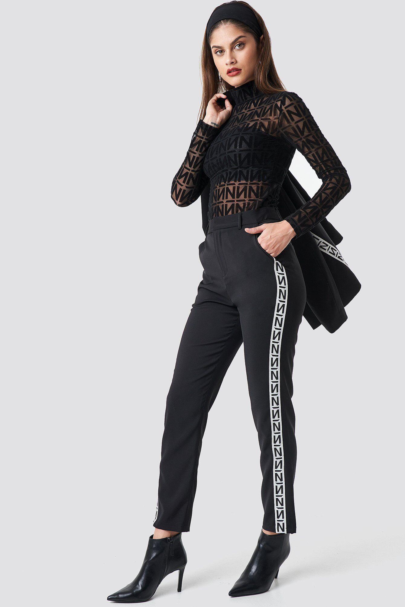 NA-KD Trend N Branded Suit Pants - Black  - Size: EU 32,EU 34,EU 36,EU 38,EU 40,EU 42,EU 44