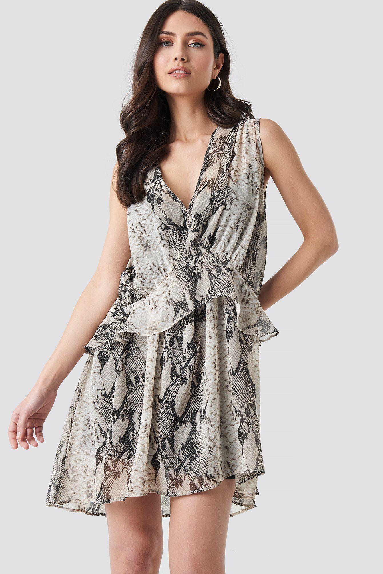 Image of NA-KD Trend Snake printed Short Chiffon Dress - Grey,Multicolor