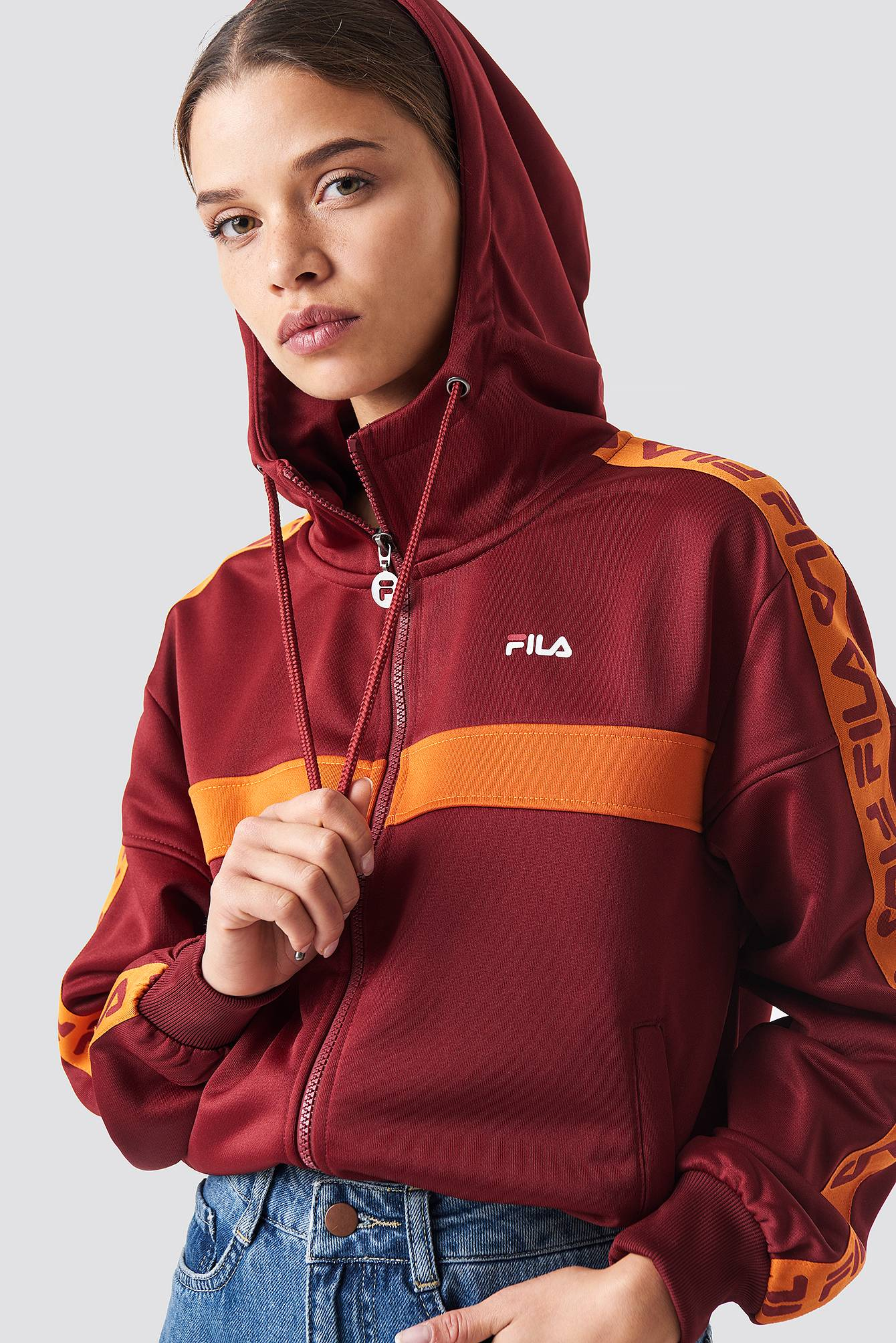 FILA Teela Track Hodded Zip - Red  - Size: Small