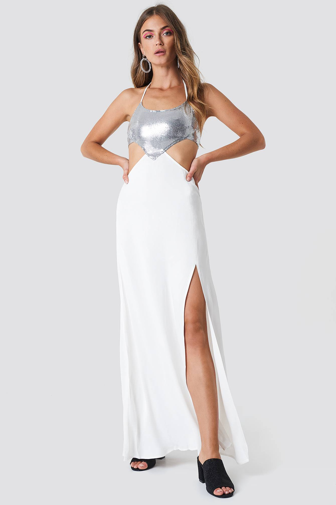 Image of Galore x NA-KD Halterneck Cut Out Maxi Dress - White