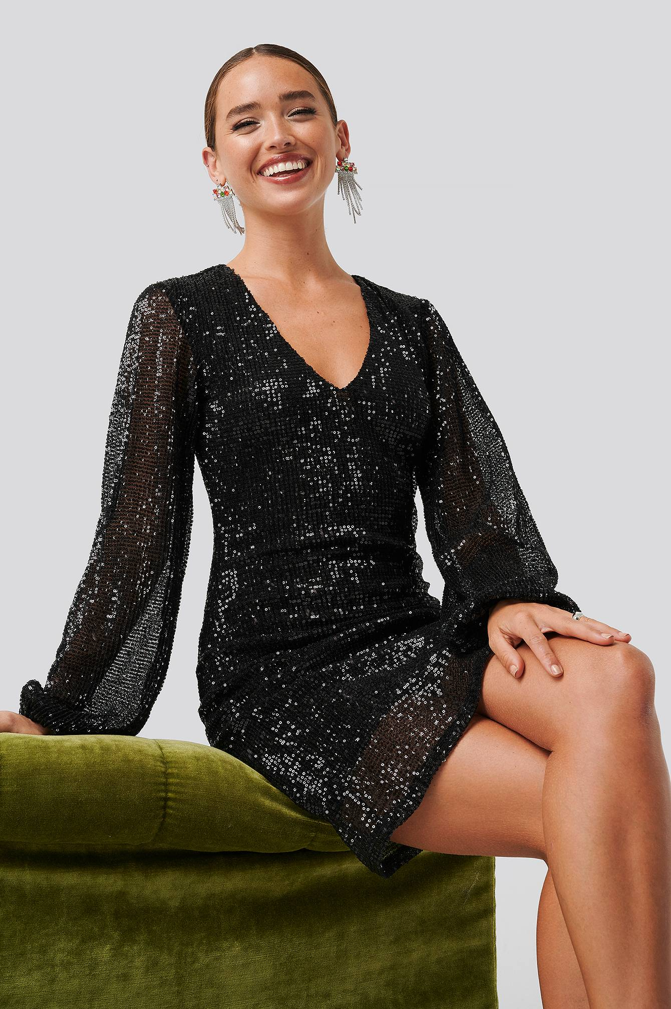 Image of NA-KD Party Balloon Sleeve Sequin Mini Dress - Black