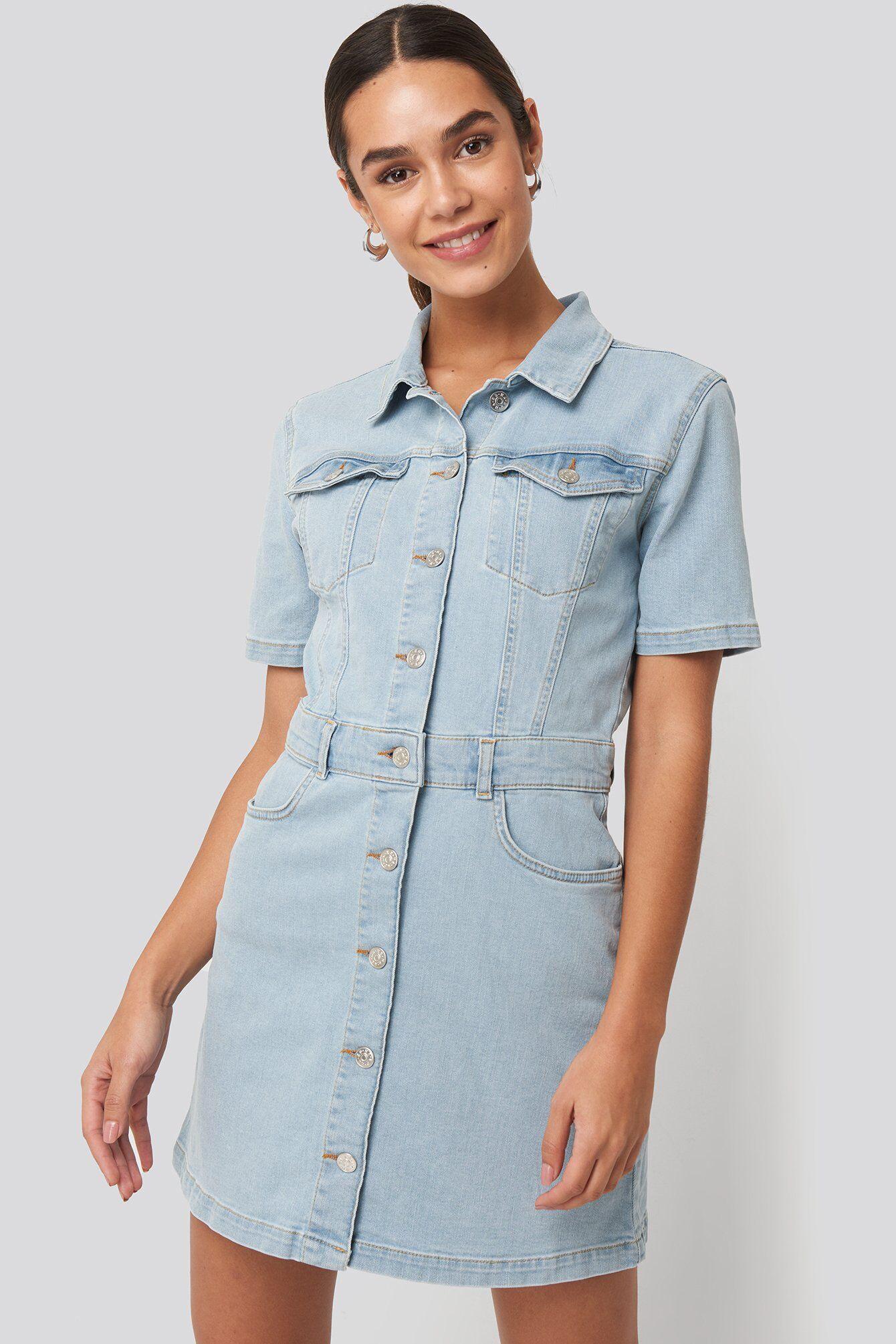 NA-KD Button Up Mini Denim Dress - Blue