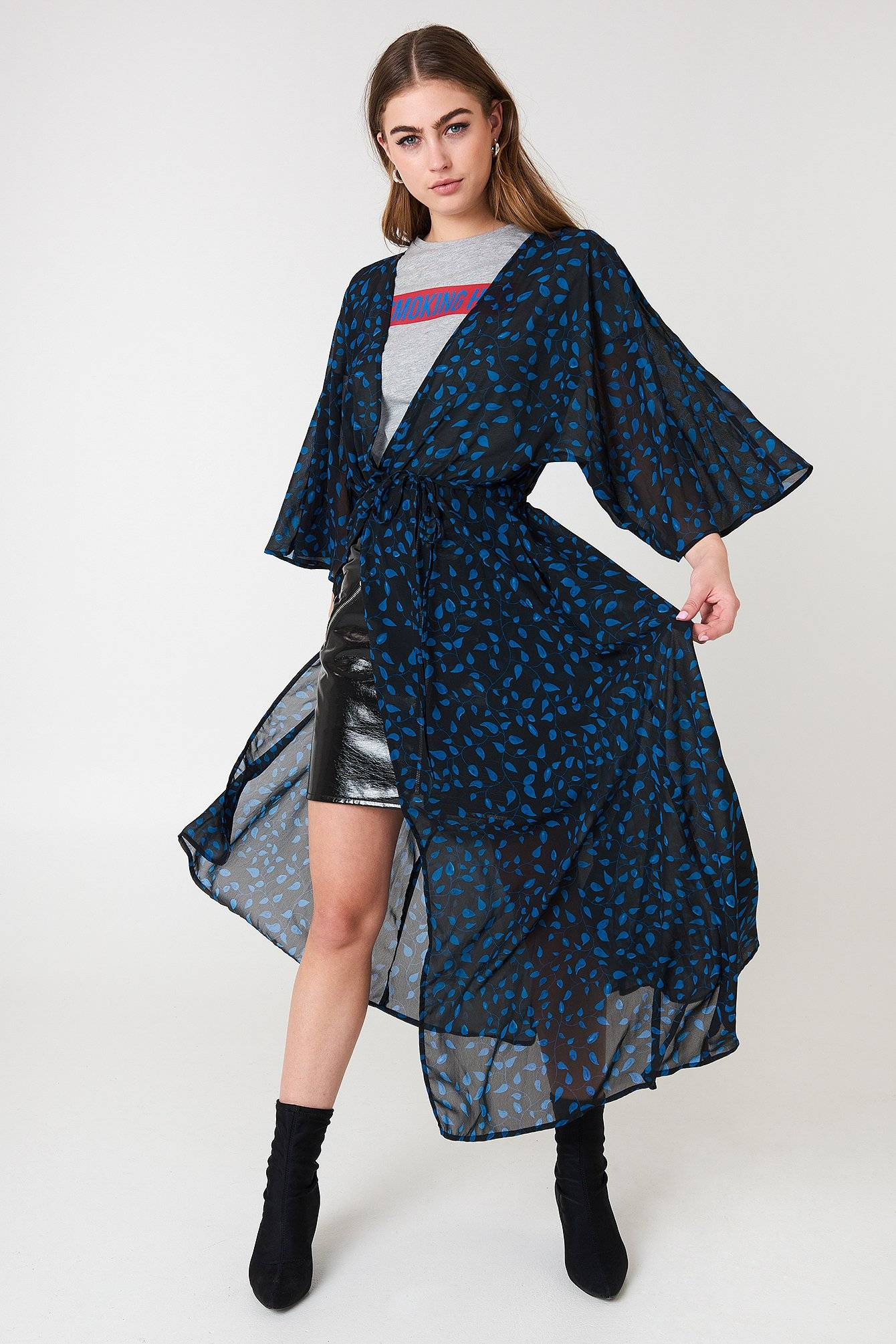 Image of NA-KD Boho Chiffon Coat Dress - Multicolor