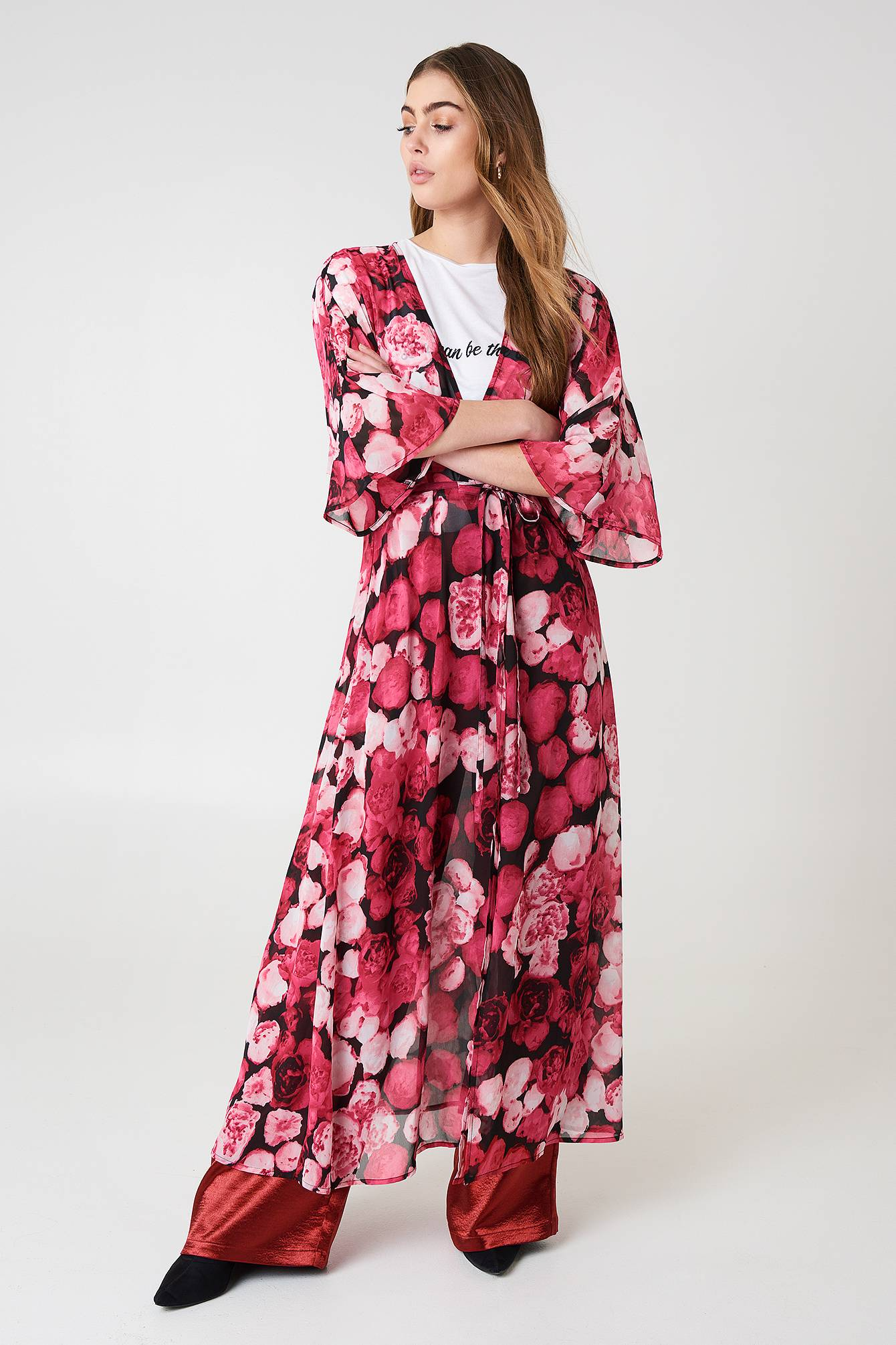 Image of NA-KD Boho Chiffon Coat Dress - Pink,Multicolor