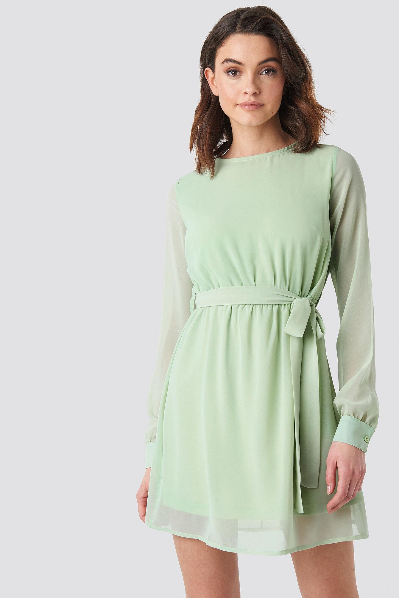Image of NA-KD Chiffon Dress - Green