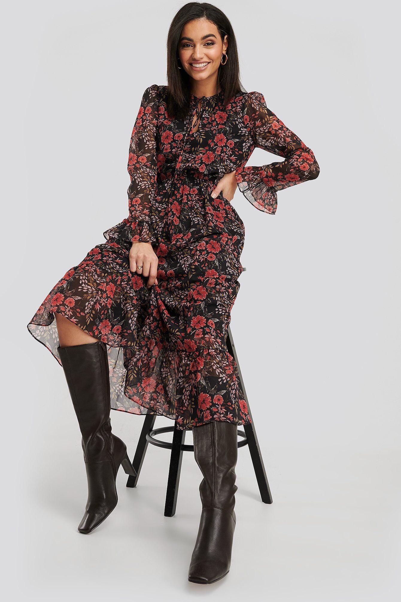 Image of NA-KD Chiffon Maxi Dress - Multicolor