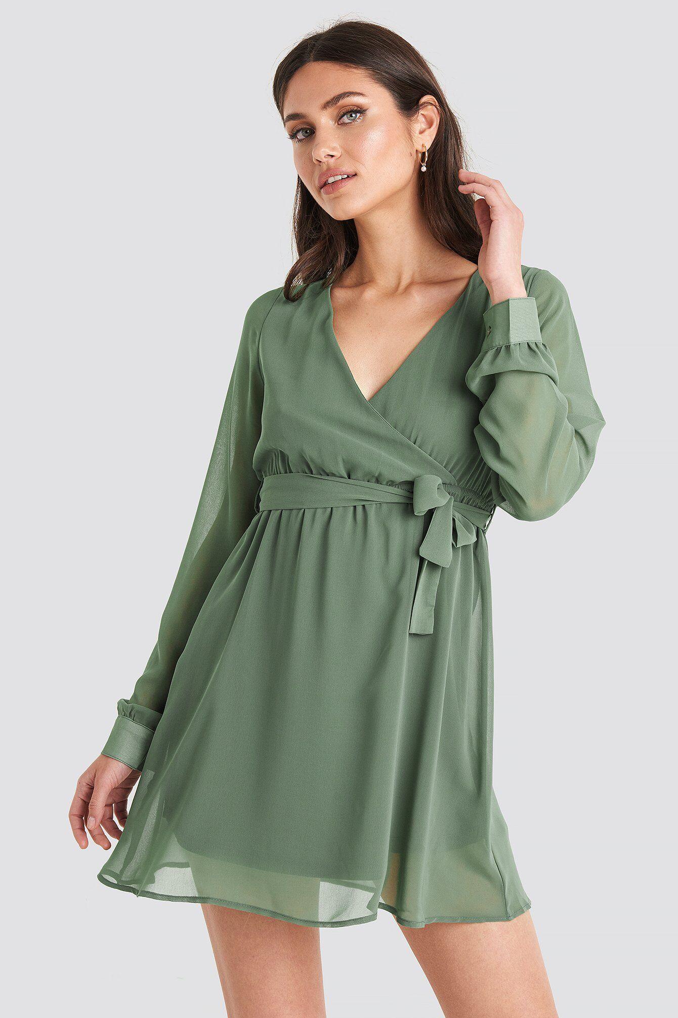 Image of NA-KD Chiffon Wrap Mini Dress - Green
