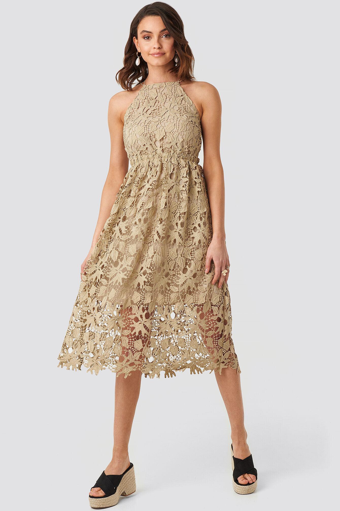 Image of NA-KD Boho Crochet Strap Back Dress - Beige