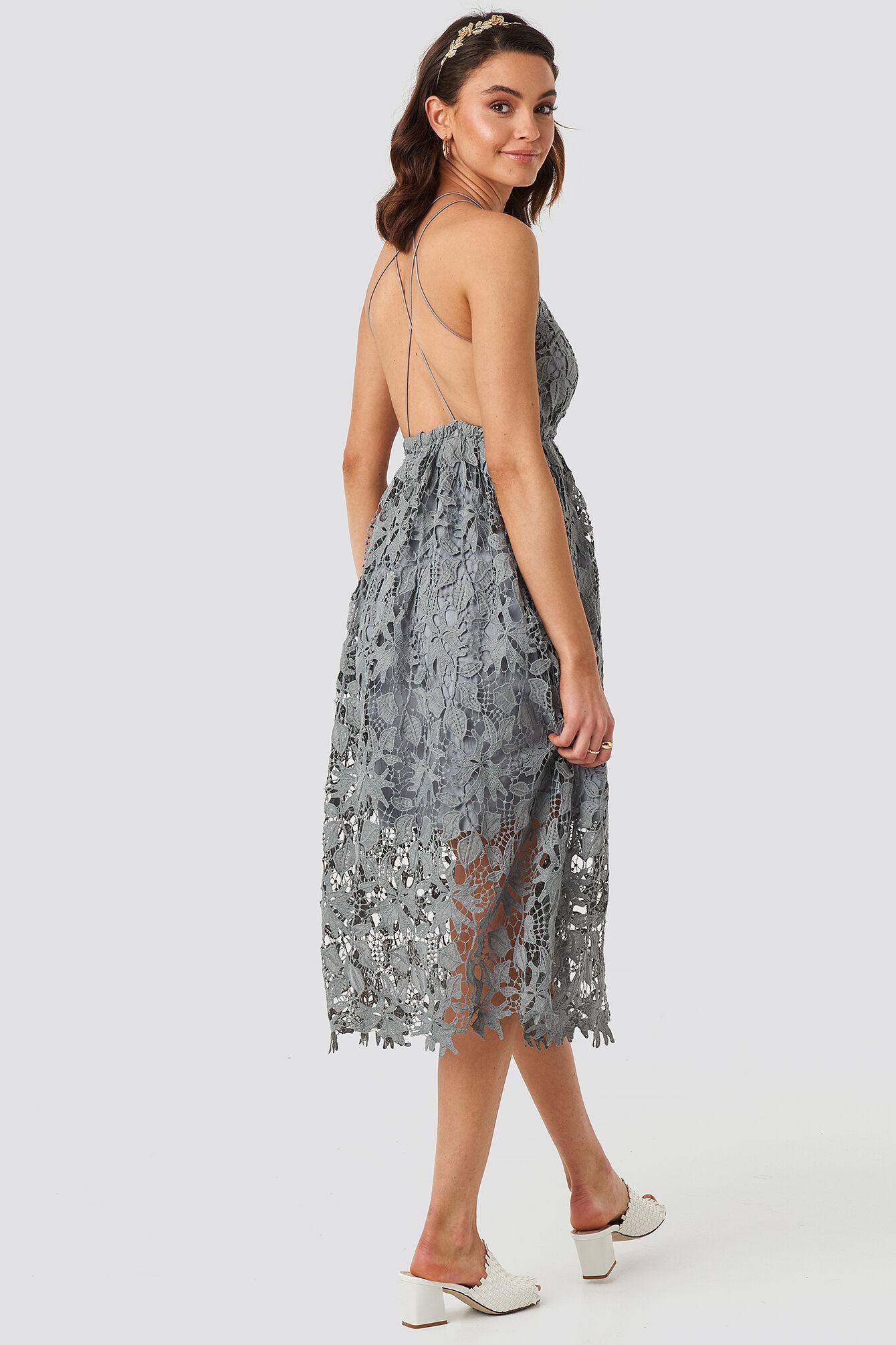 Image of NA-KD Boho Crochet Strap Back Dress - Grey,Blue