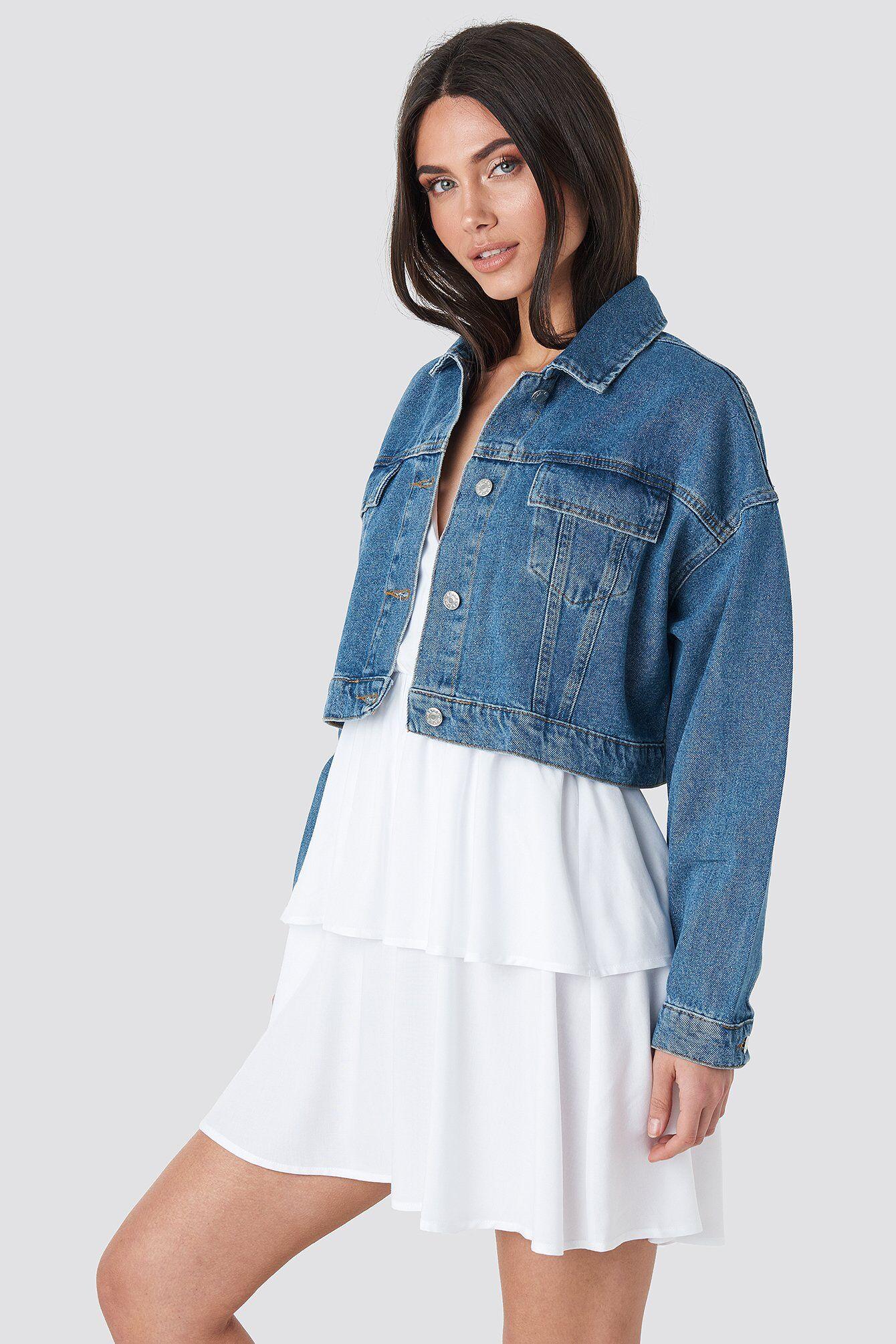 NA-KD Cropped Regular Hem Denim jacket - Blue