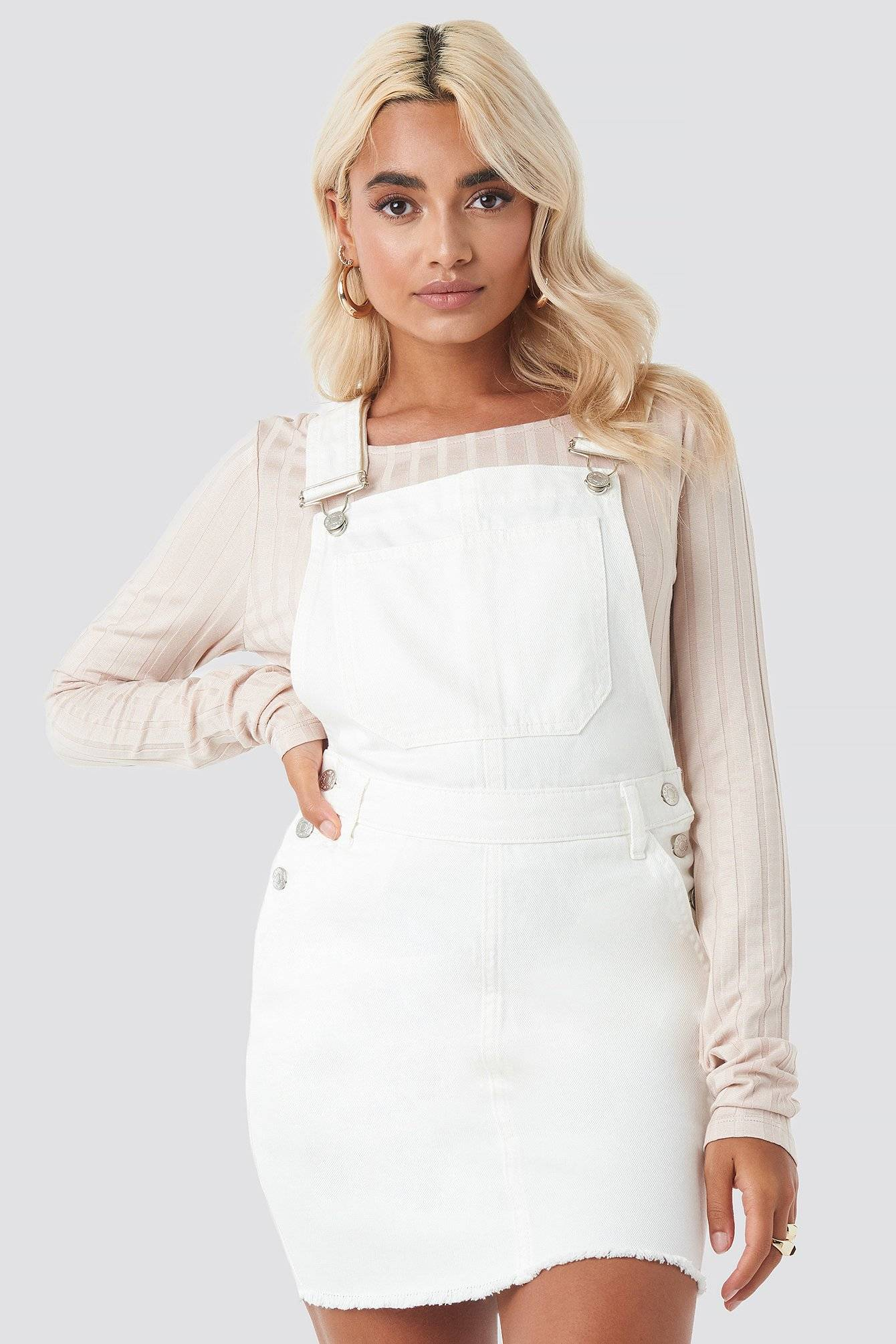 NA-KD Denim Dungaree Dress - White