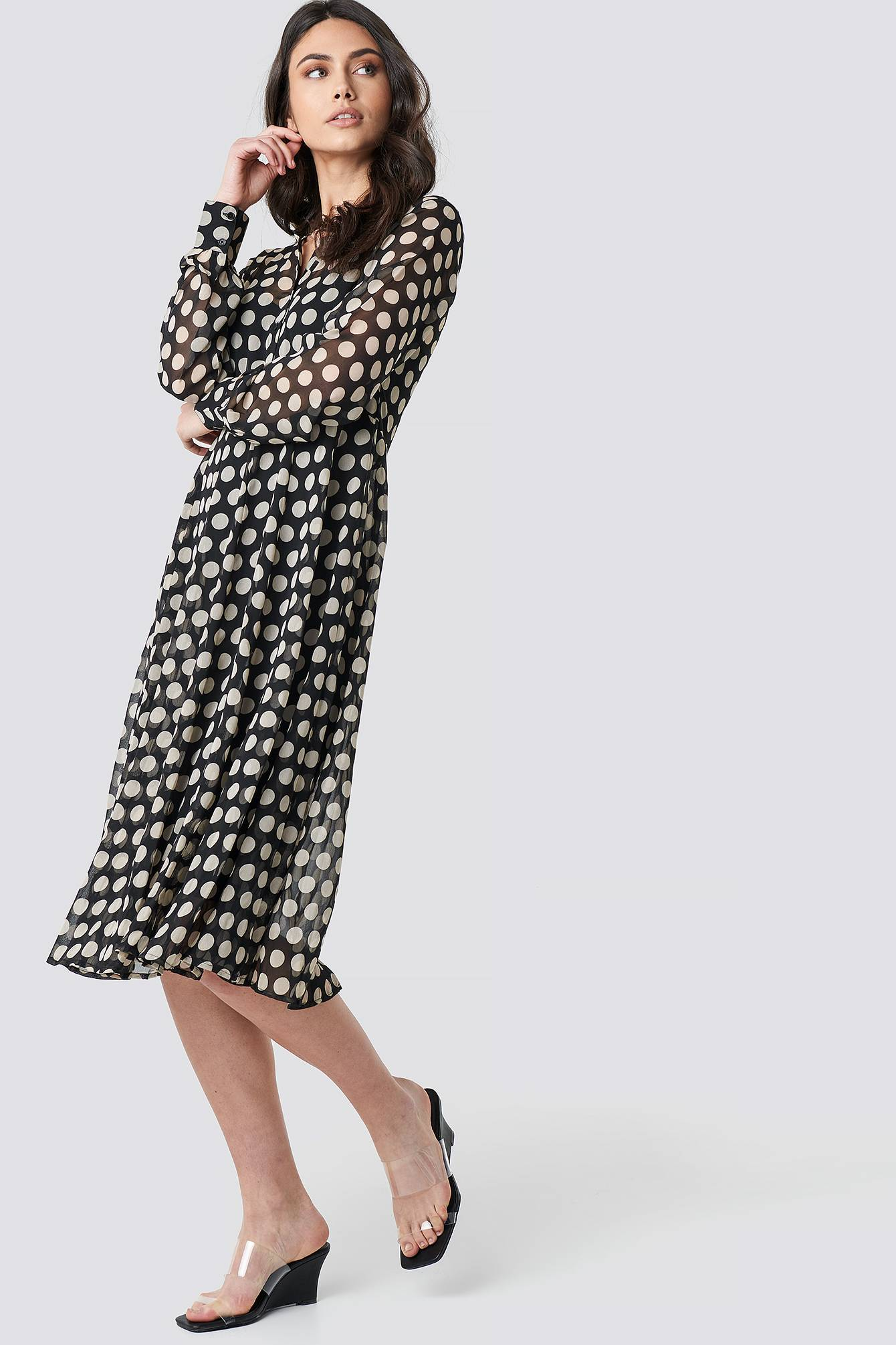 Image of NA-KD Boho Dotted Chiffon Shirt Dress - Black