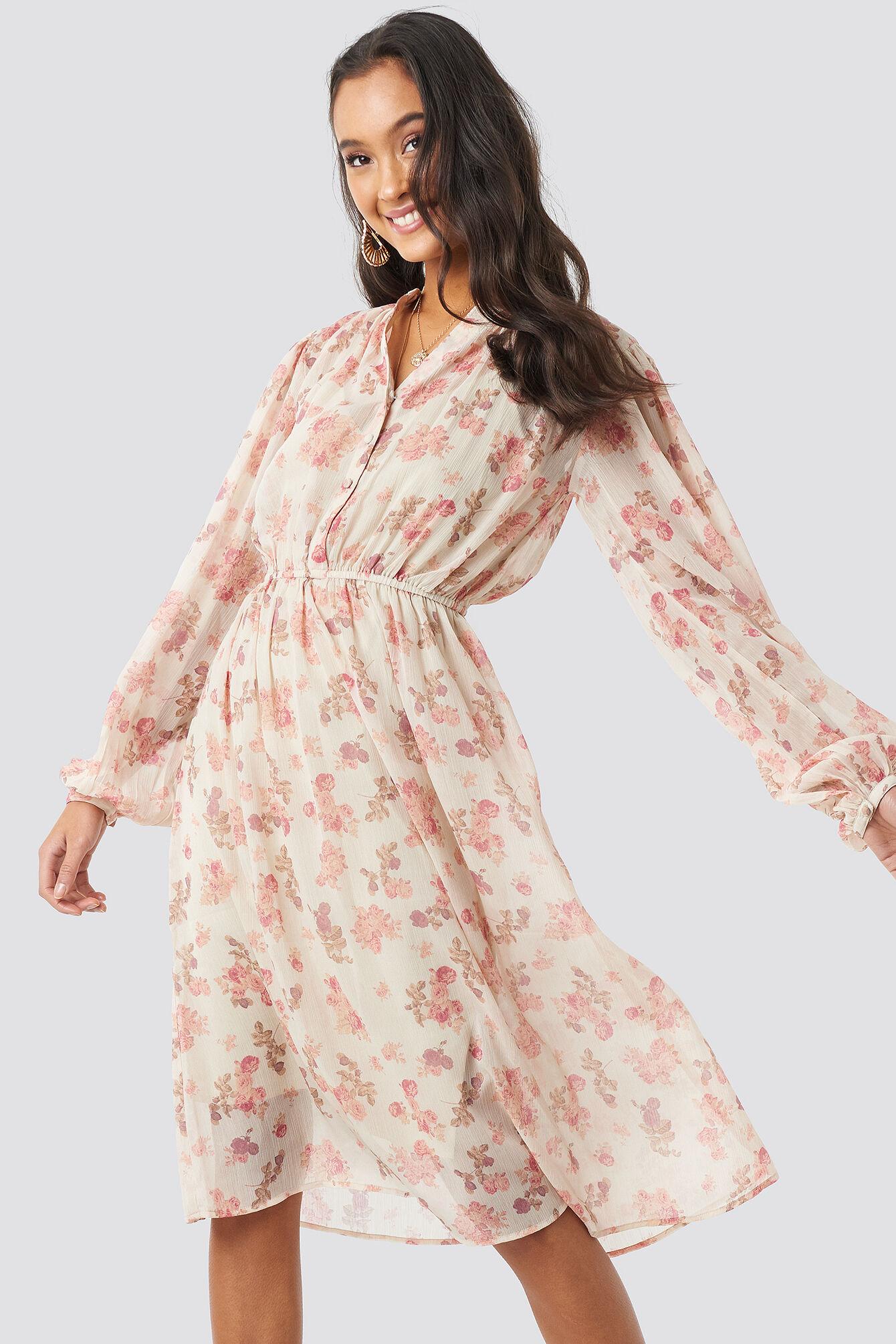Image of NA-KD Boho Elastic Waist Chiffon Midi Dress - Pink,Beige,Nude