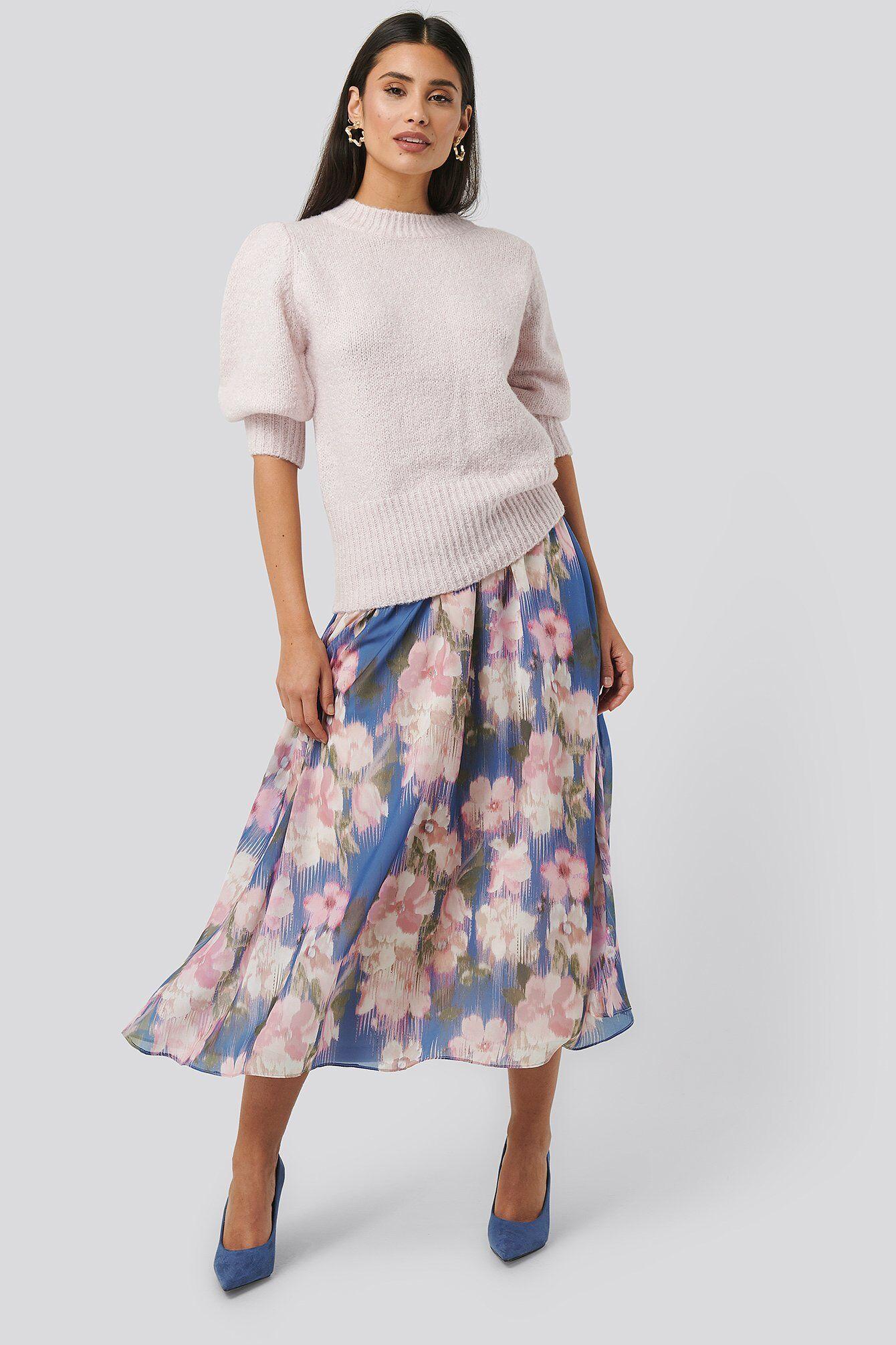 Image of NA-KD Flowy Chiffon Skirt - Multicolor