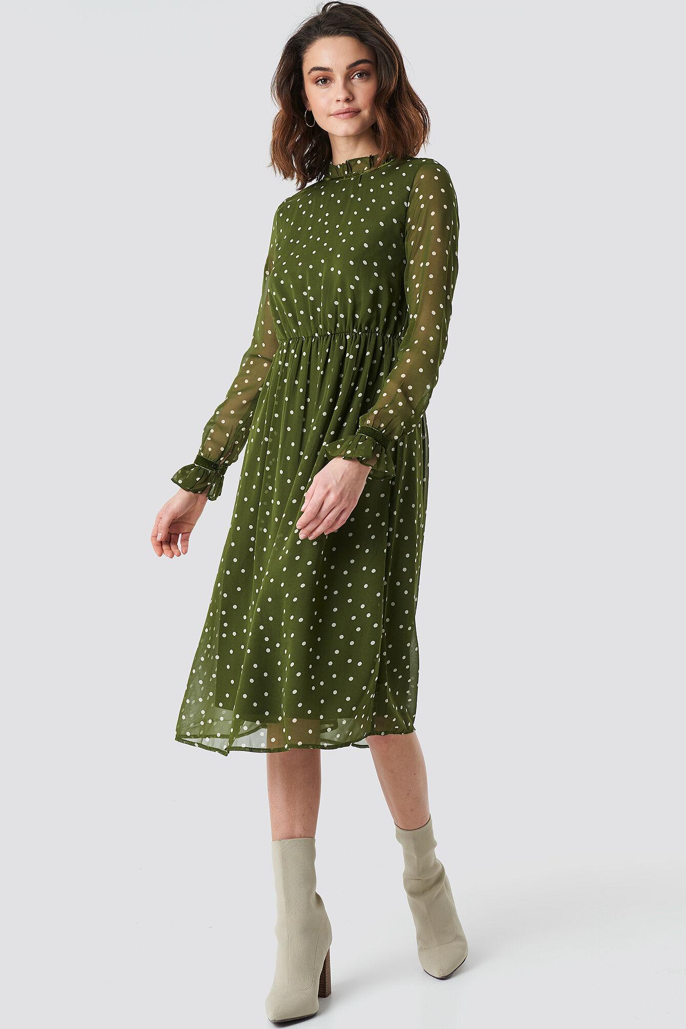 Image of NA-KD Boho Frill Detail High Neck Chiffon Dress - Green