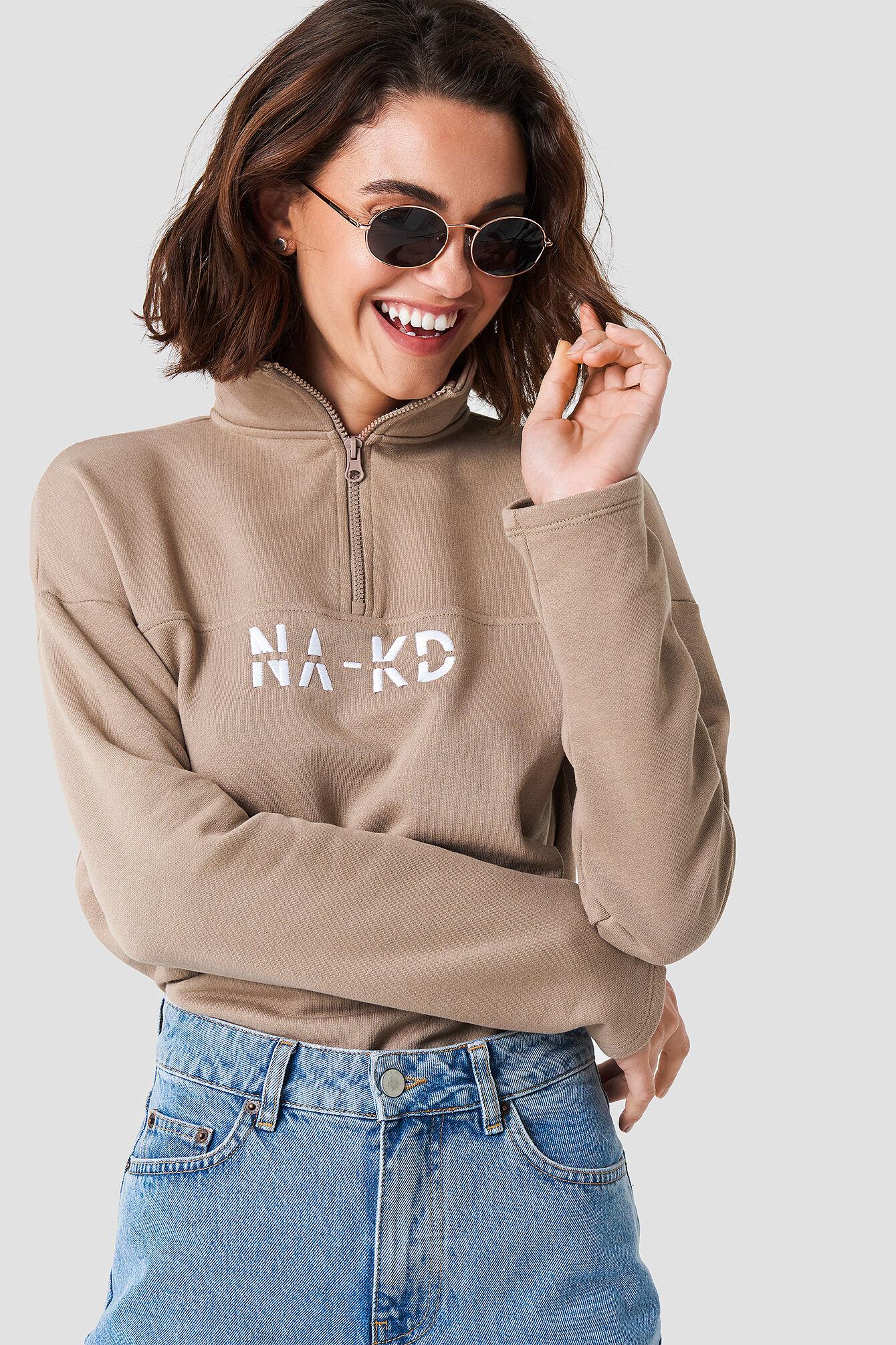NA-KD Front Zipper Sweatshirt - Brown,Beige