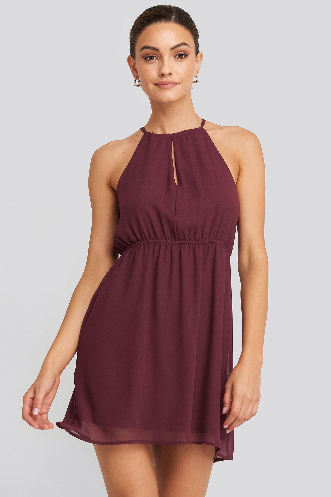 Image of NA-KD Party Halterneck Chiffon Mini Dress - Red