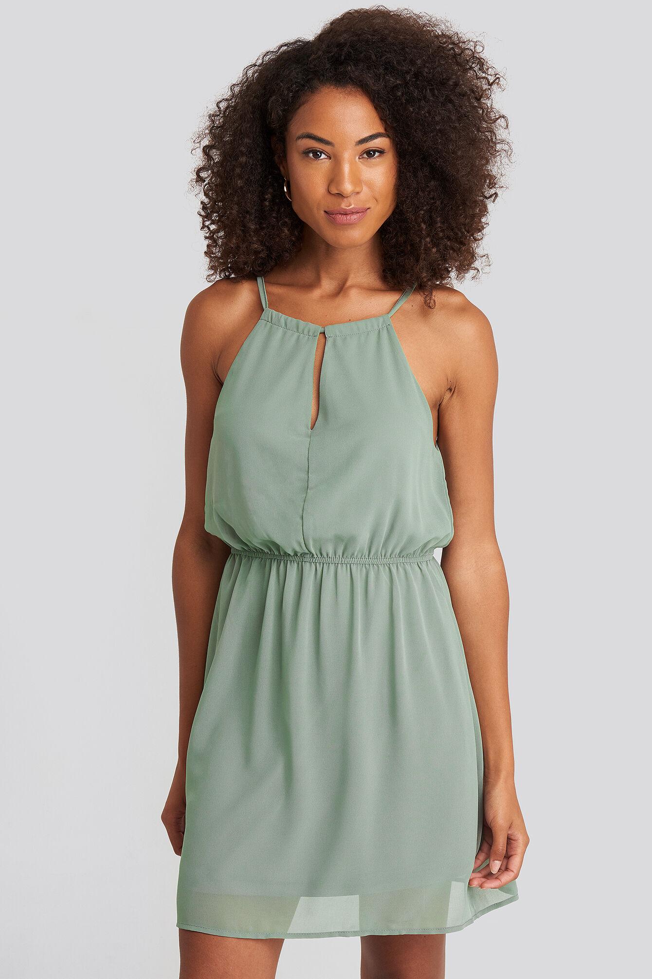 Image of NA-KD Party Halterneck Chiffon Mini Dress - Green