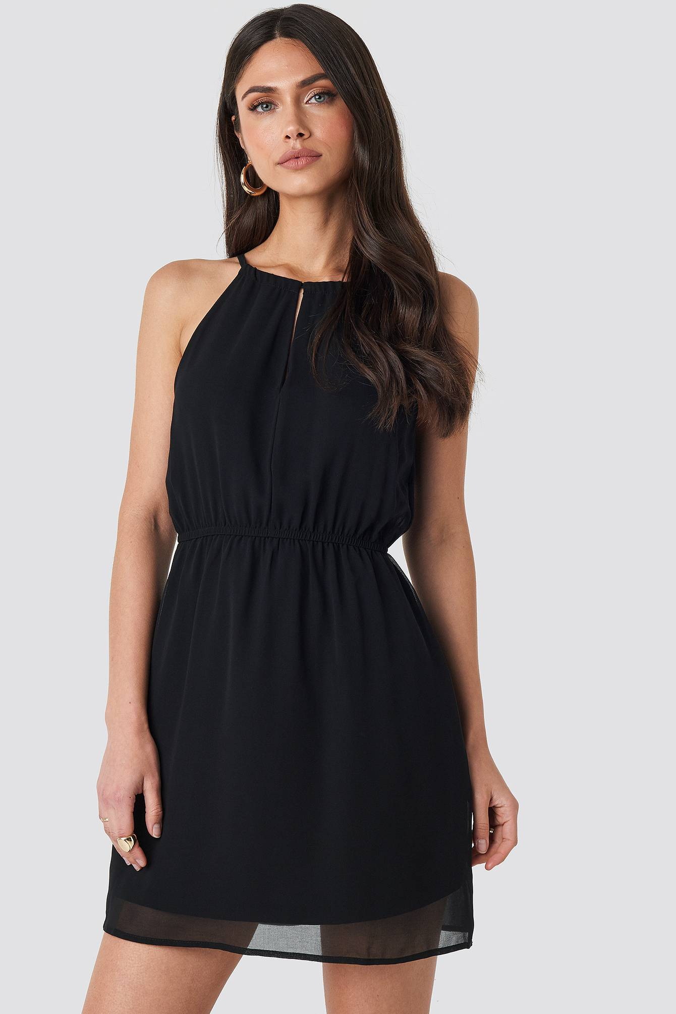 Image of NA-KD Party Halterneck Chiffon Mini Dress - Black