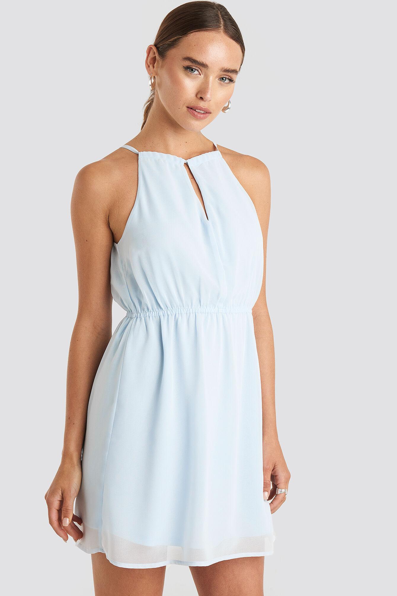 Image of NA-KD Party Halterneck Chiffon Mini Dress - Blue