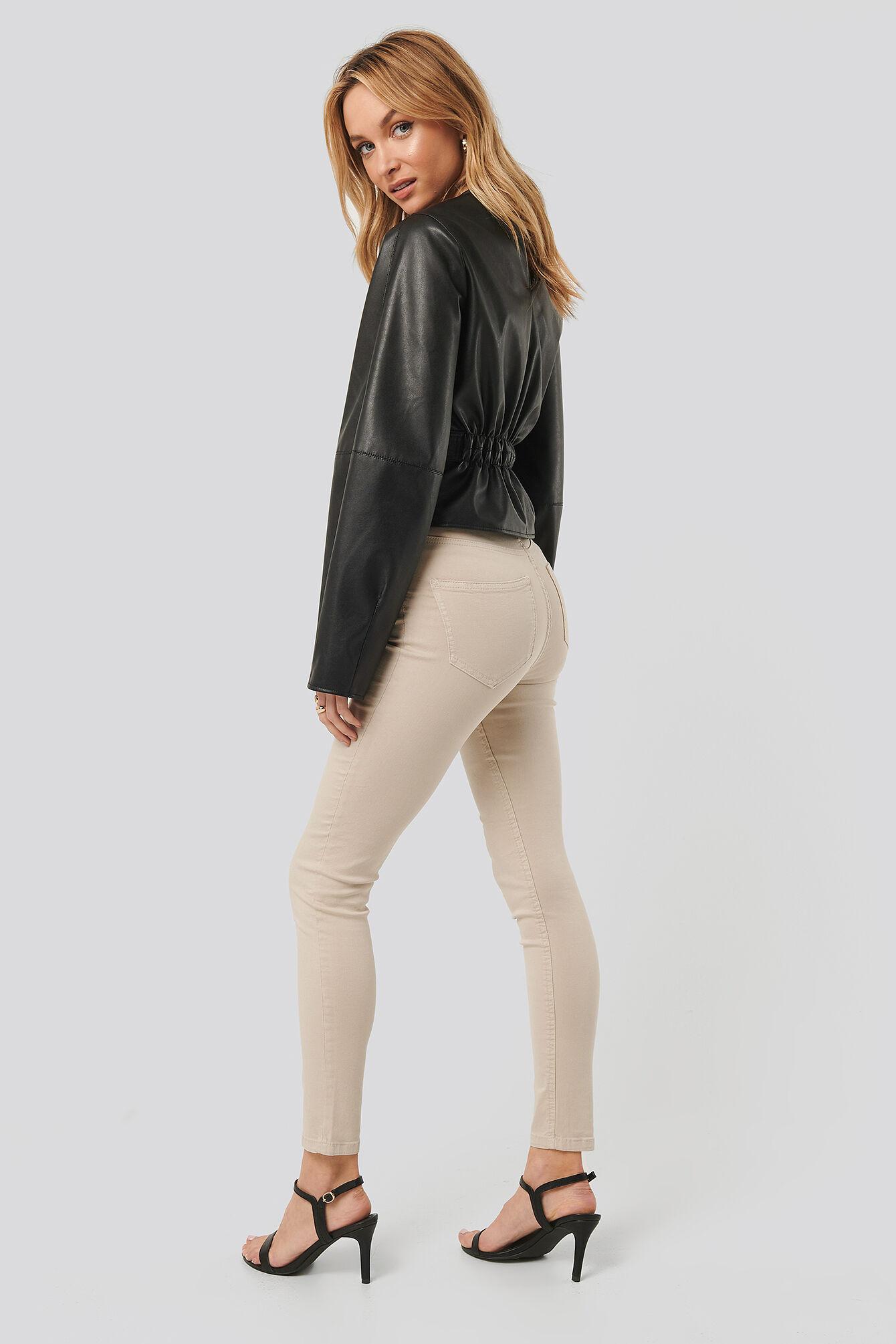 NA-KD High Waist Skinny Denim Jeans - Beige  - Size: EU 32,EU 34,EU 36,EU 38,EU 40,EU 42