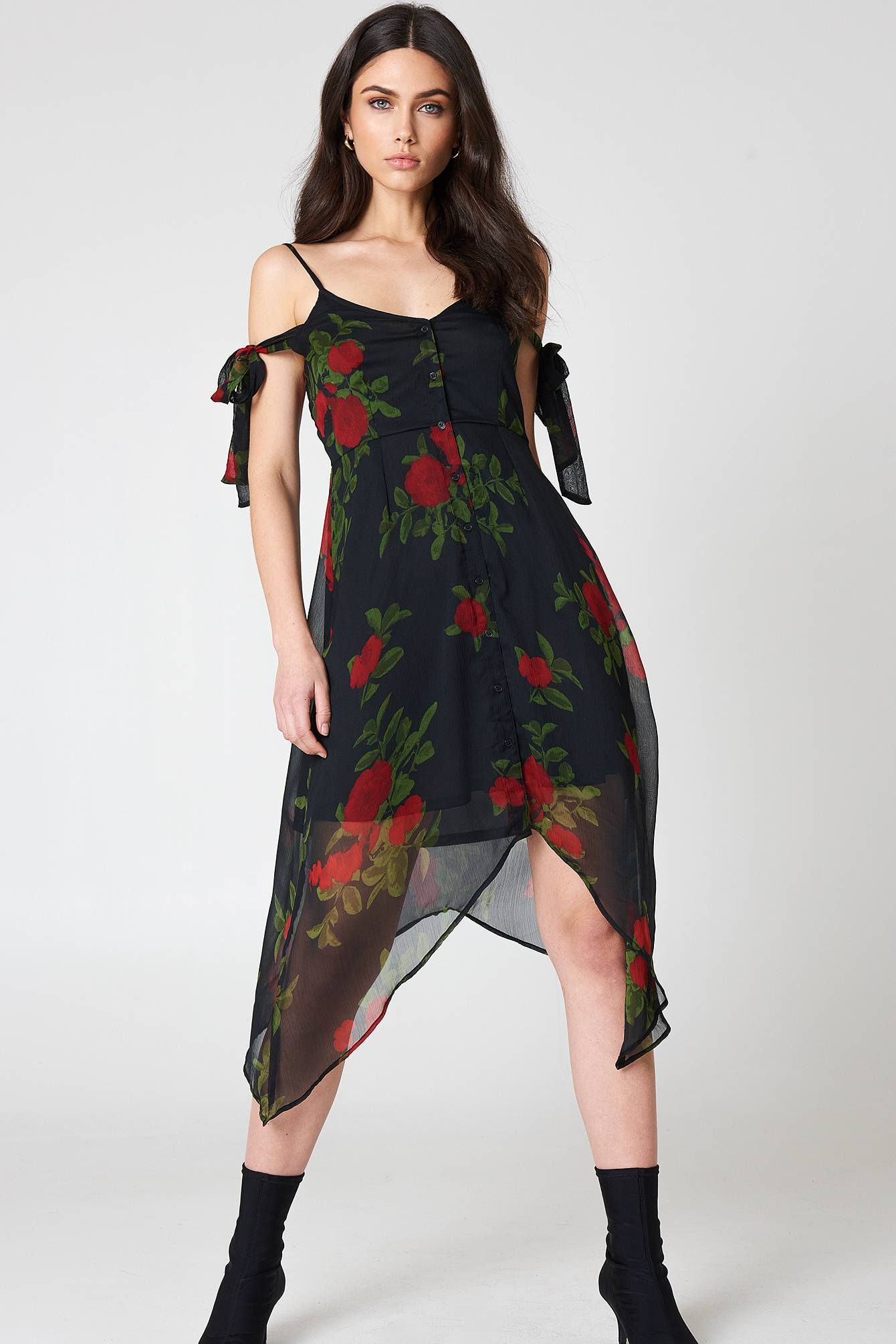 Image of NA-KD Boho Knot Detail Midi Dress - Black,Multicolor