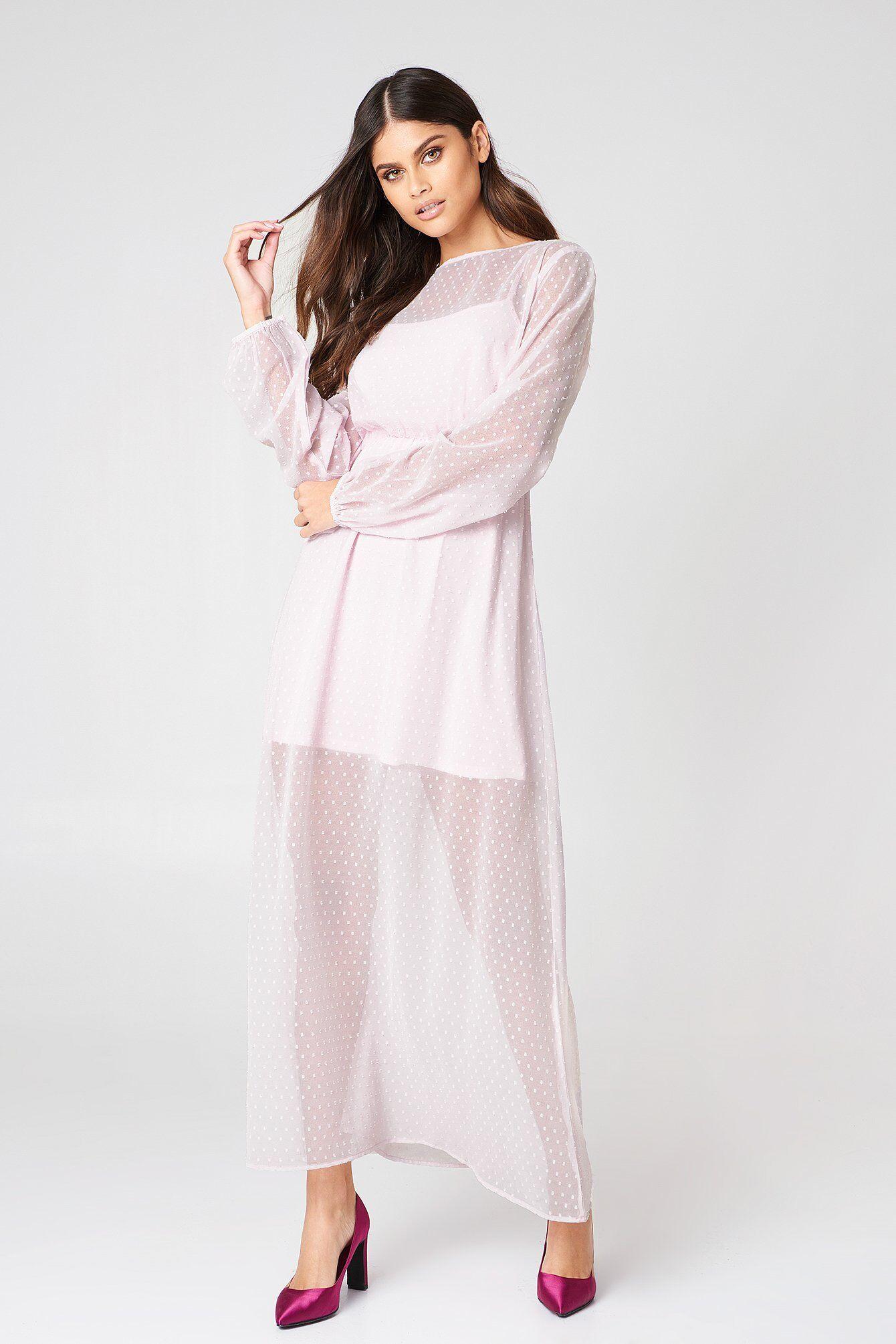 Image of NA-KD Boho LS Dotted Chiffon Maxi Dress - Pink