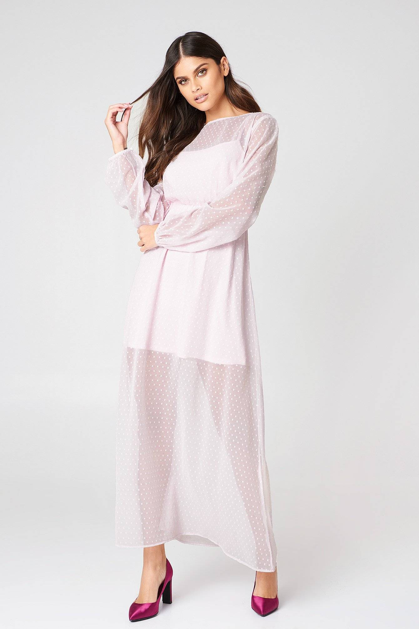 Image of NA-KD Boho LS Dotted Chiffon Maxi Dress - Pink