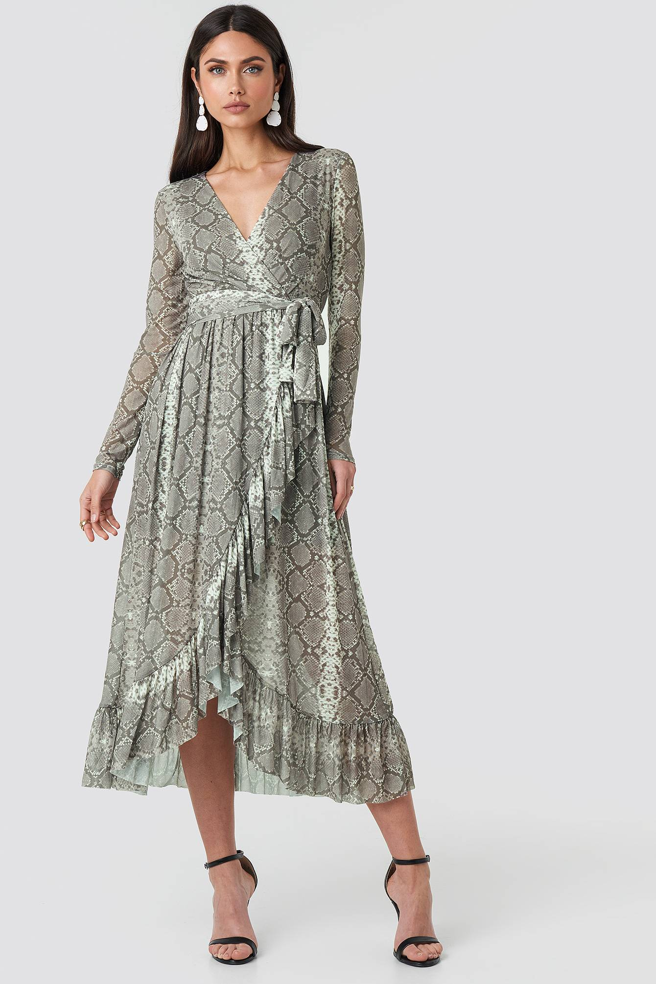Image of NA-KD Trend Mesh Printed Frill Maxi Dress - Grey,Multicolor