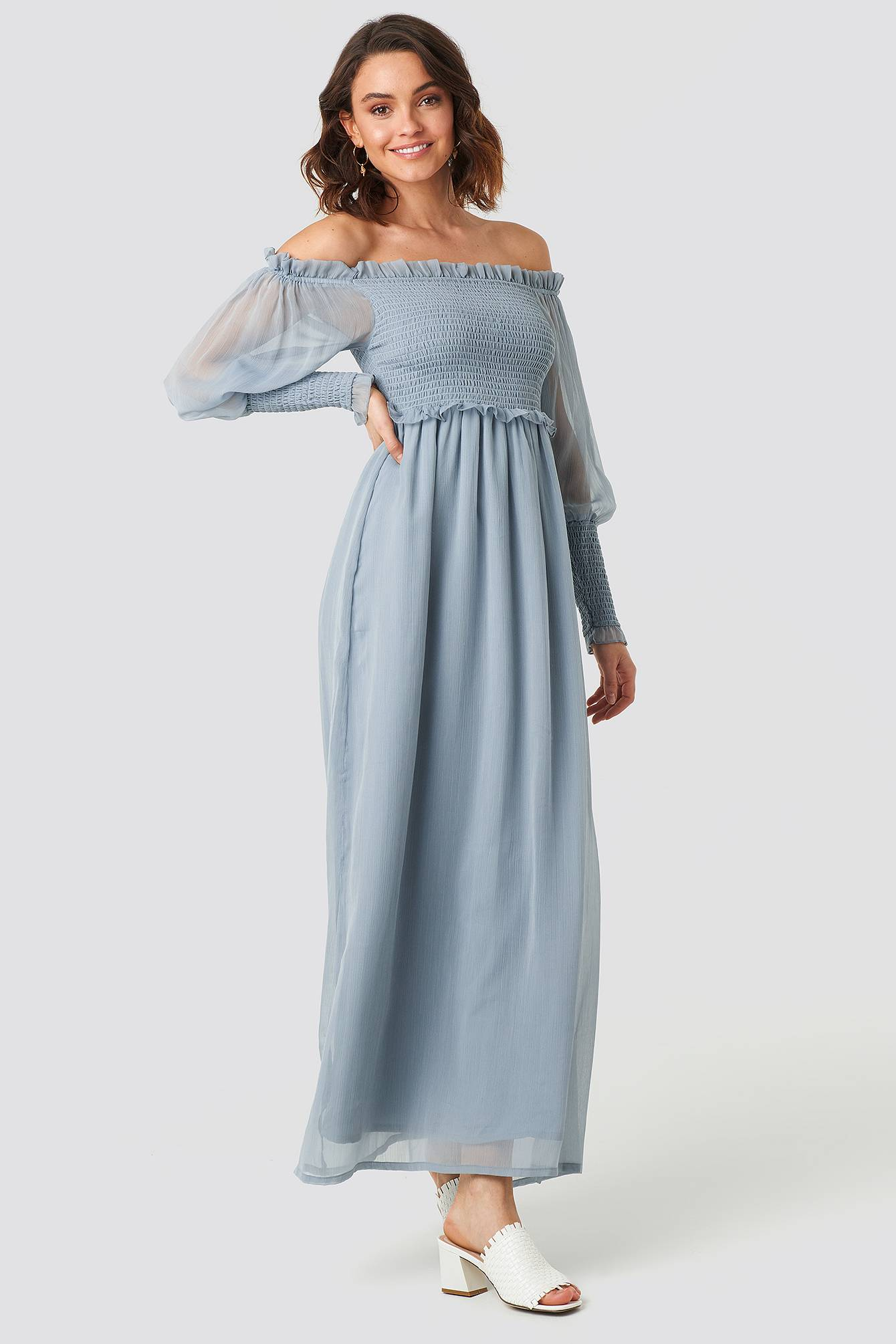 Image of NA-KD Trend Off Shoulder Smock Chiffon Dress - Blue