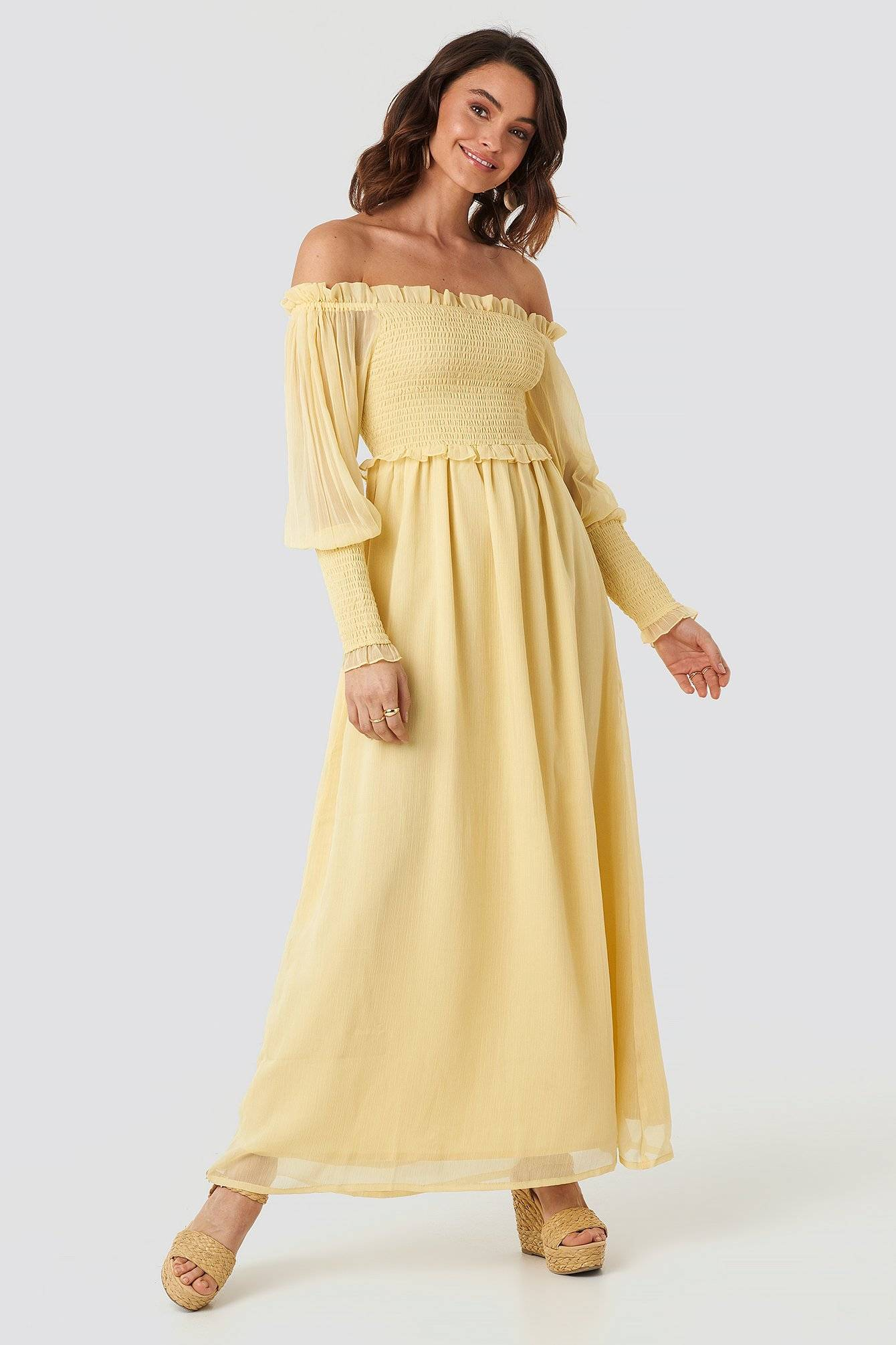 Image of NA-KD Trend Off Shoulder Smock Chiffon Dress - Yellow