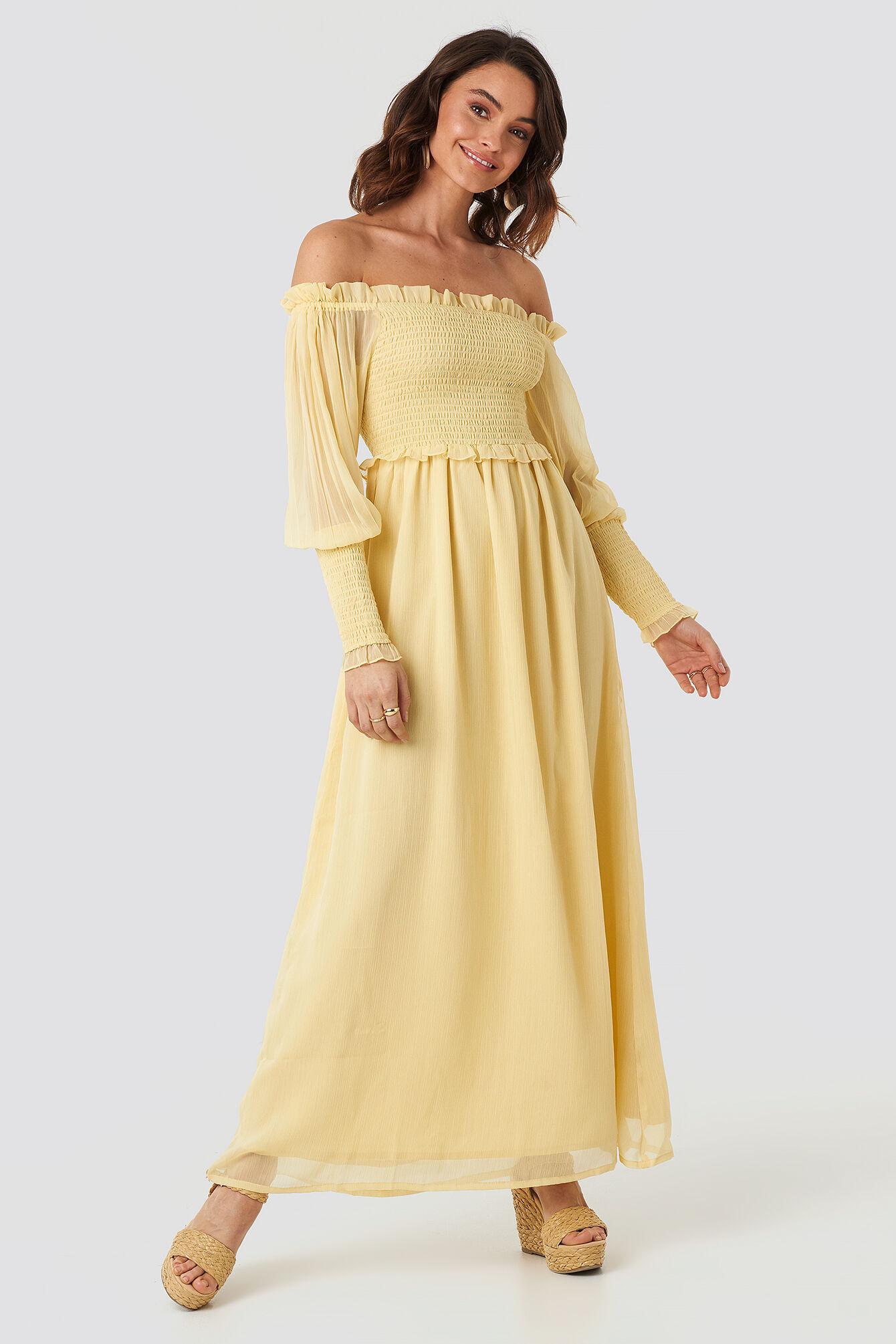 Image of NA-KD Trend Off Shoulder Smock Chiffon Dress - Yellow