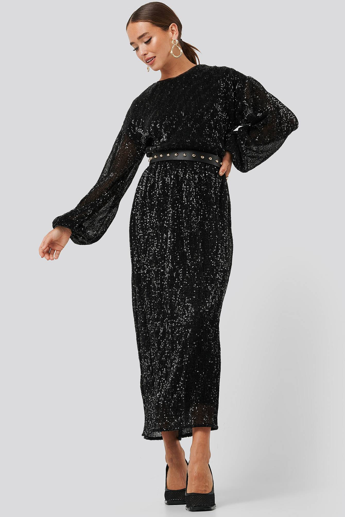 Image of NA-KD Party Open Back Sequin Dress - Black