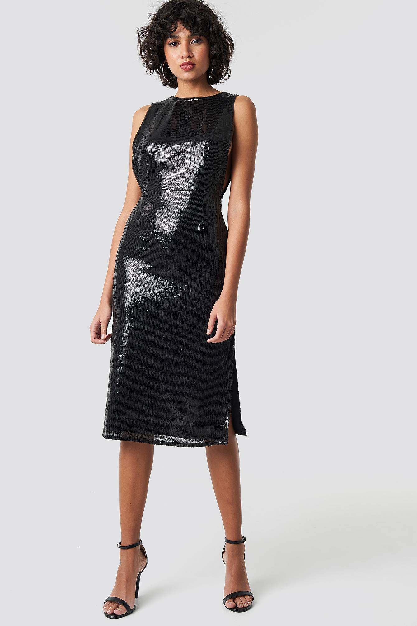 Image of NA-KD Party Open Side Sequin Midi Dress - Black