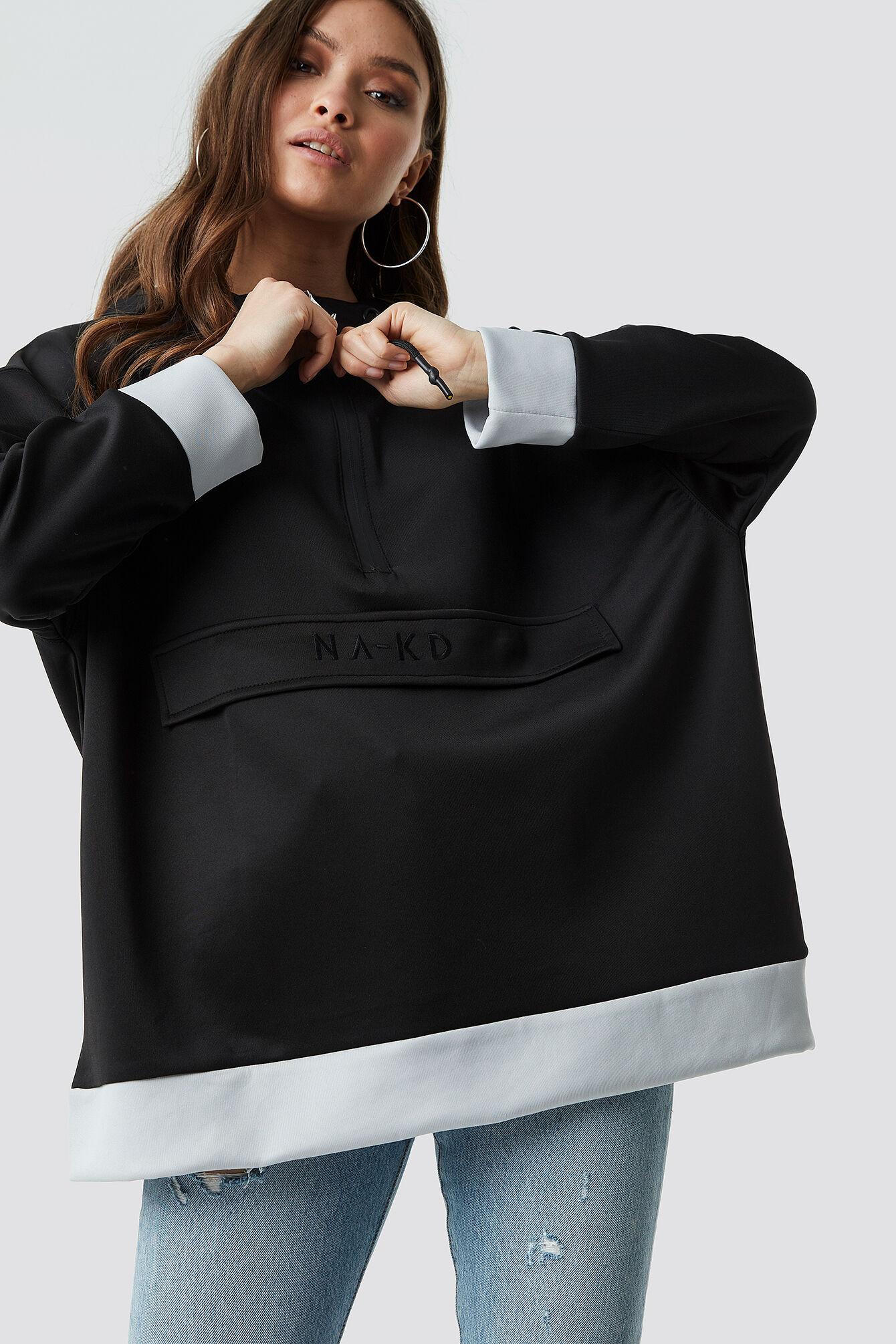 NA-KD Oversize Pouch Pocket Hoodie - Black
