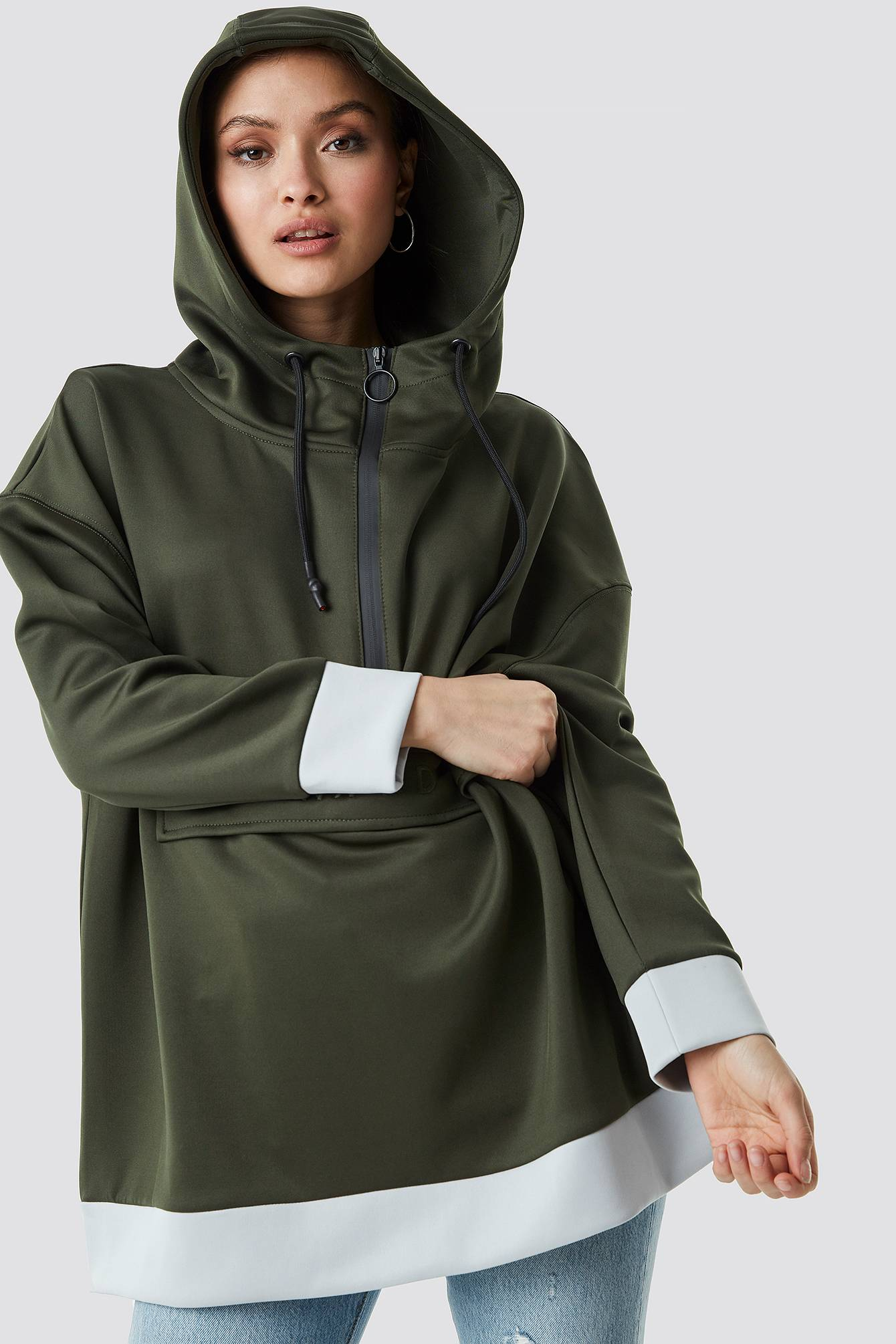 NA-KD Oversize Pouch Pocket Hoodie - Green