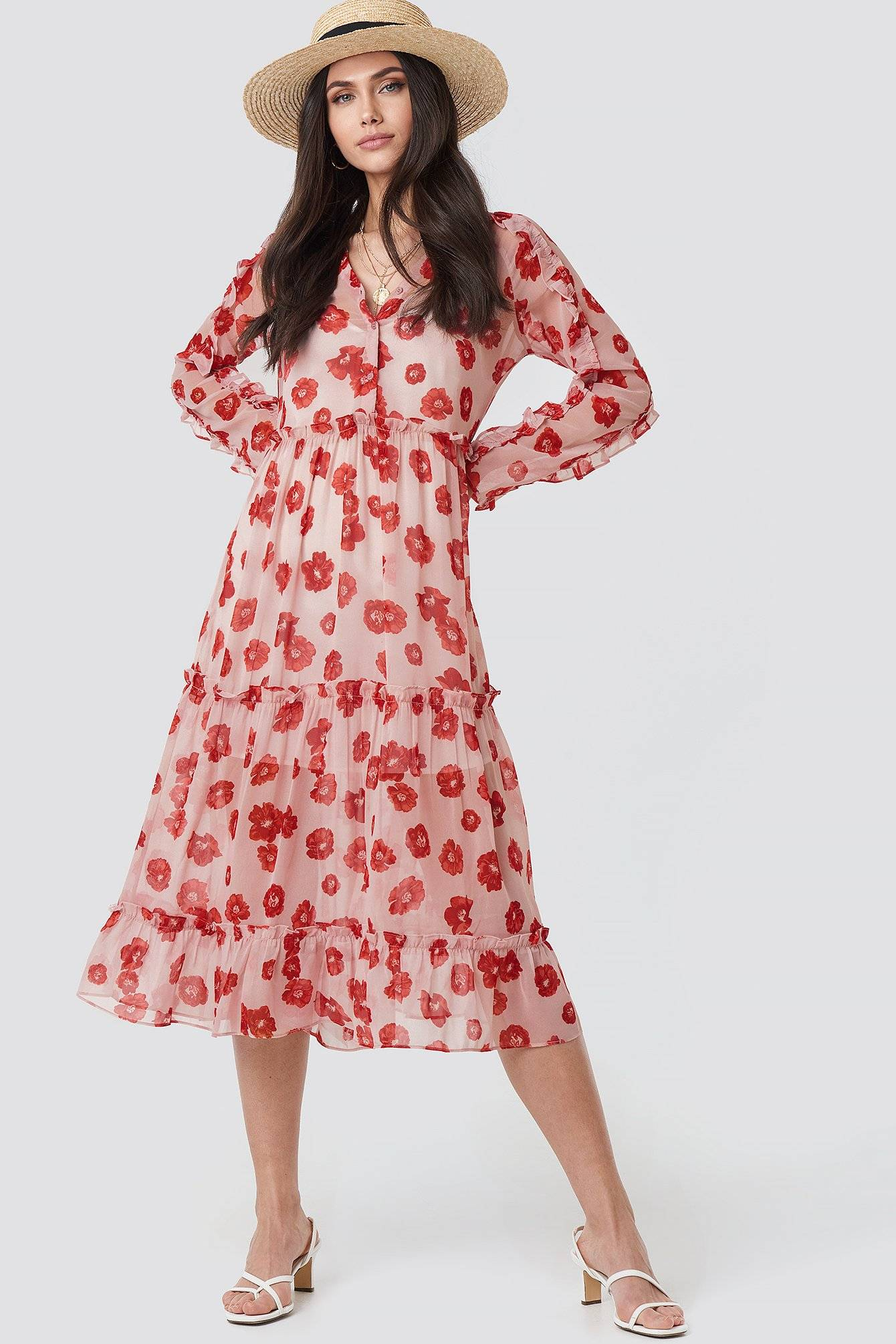 Image of NA-KD Boho Printed Flounce Chiffon Dress - Pink,Red