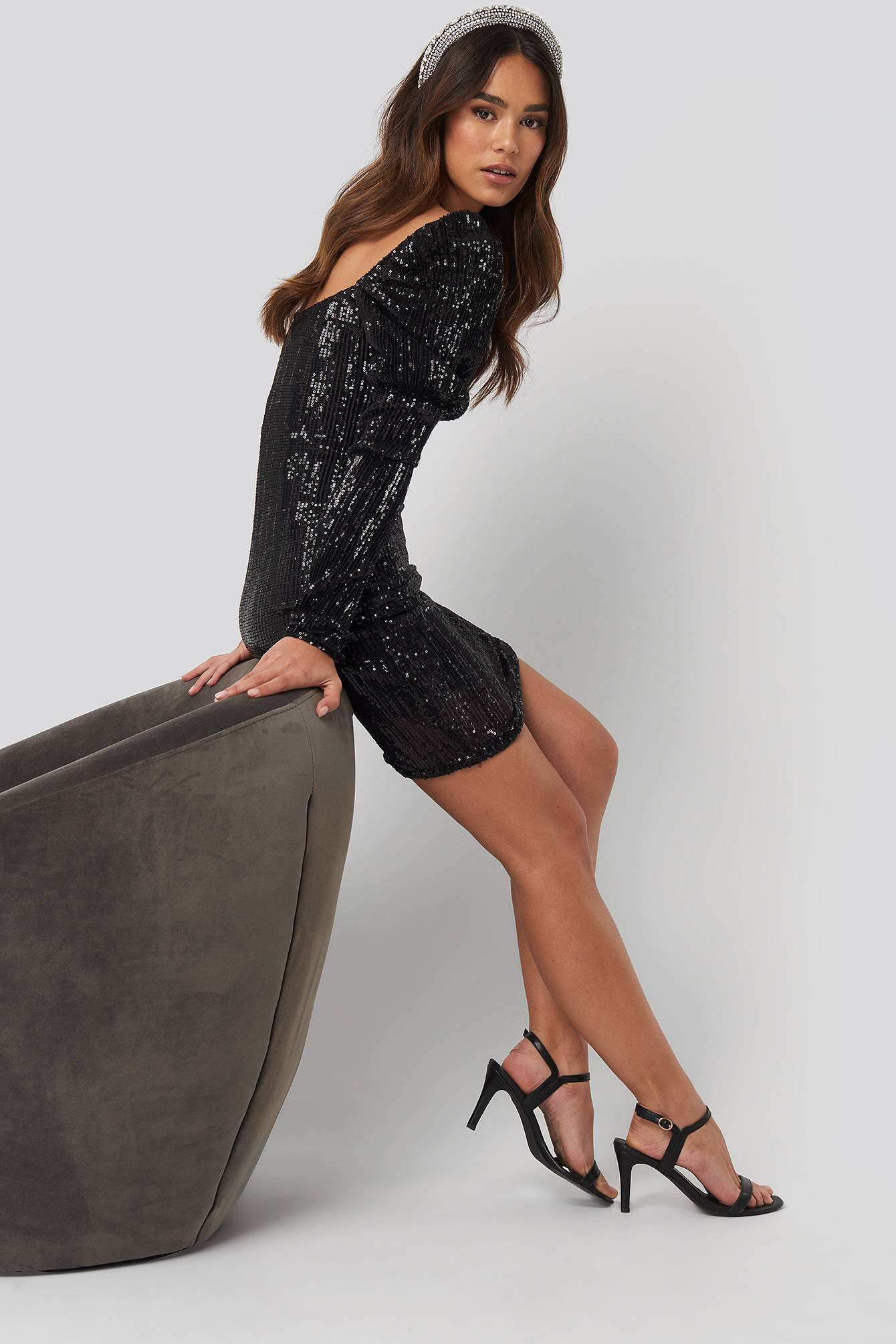 Image of NA-KD Party Puff Shoulder Sequin Mini Dress - Black