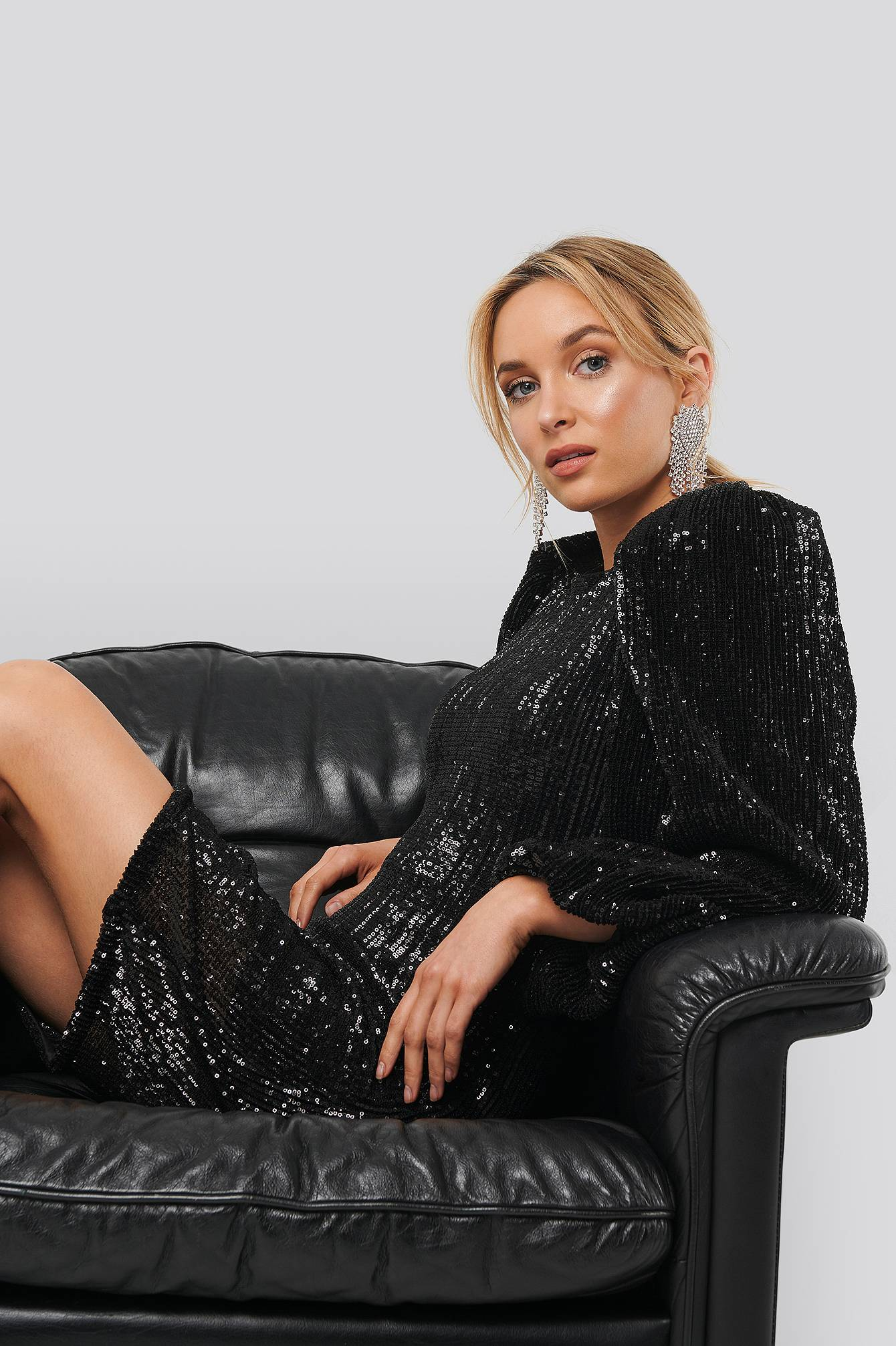 Image of NA-KD Party Puff Sleeve Sequin Mini Dress - Black