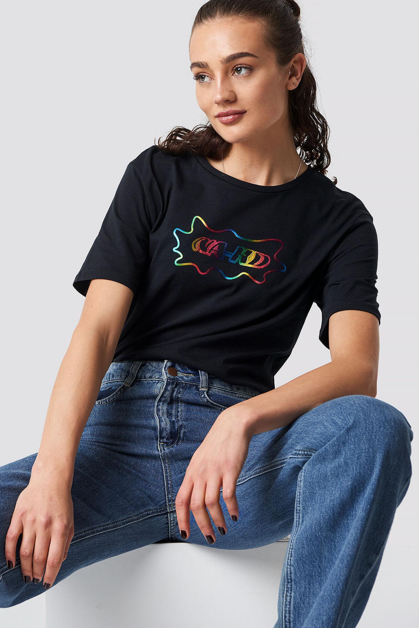 NA-KD Rainbow Unisex Tee - Black