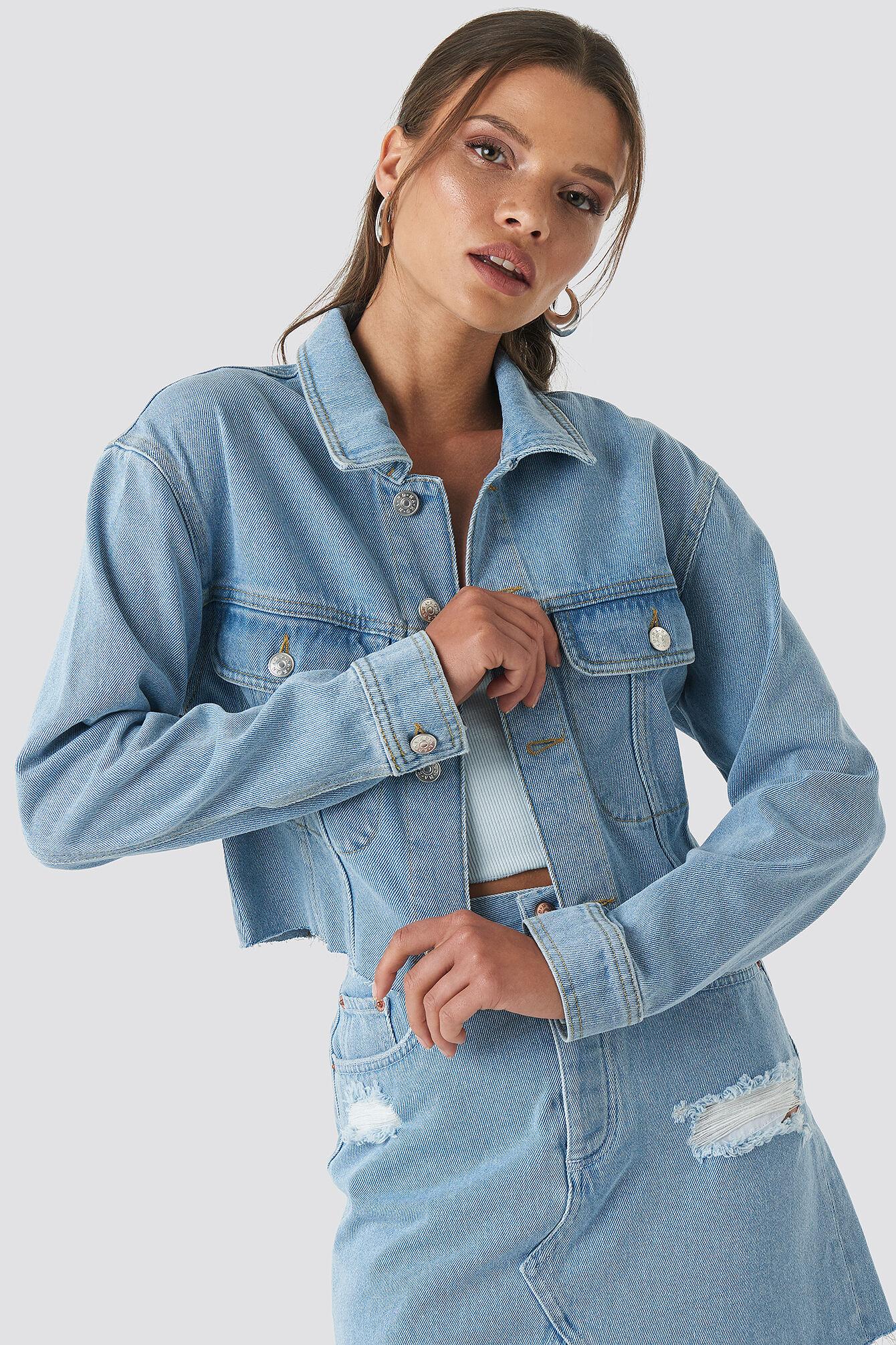 NA-KD Raw Hem Denim Jacket - Blue