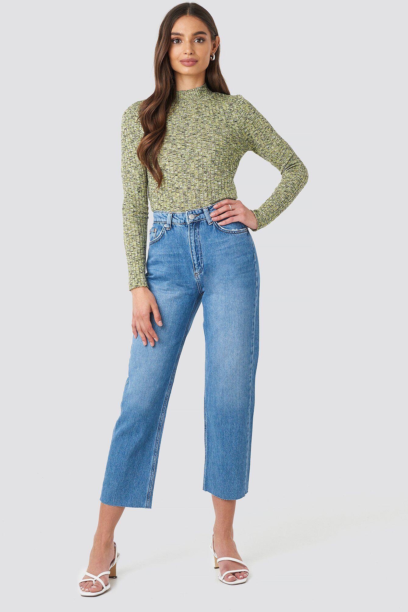 NA-KD Raw Hem Straight Jeans - Blue  - Size: EU 32,EU 34,EU 36,EU 38,EU 40,EU 42