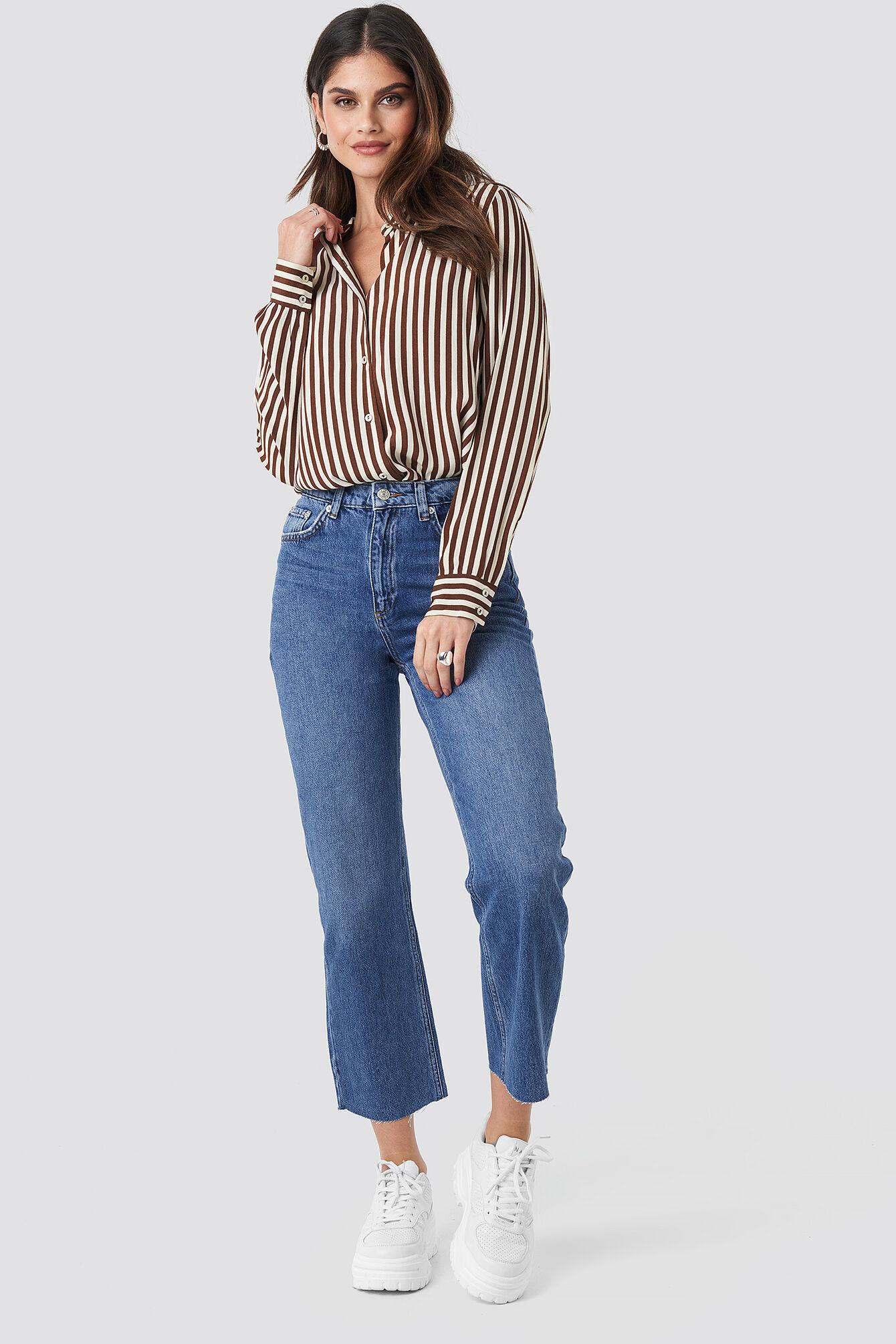 NA-KD Trend Raw Hem Straight Jeans - Blue  - Size: EU 32,EU 34,EU 36,EU 38,EU 40,EU 42