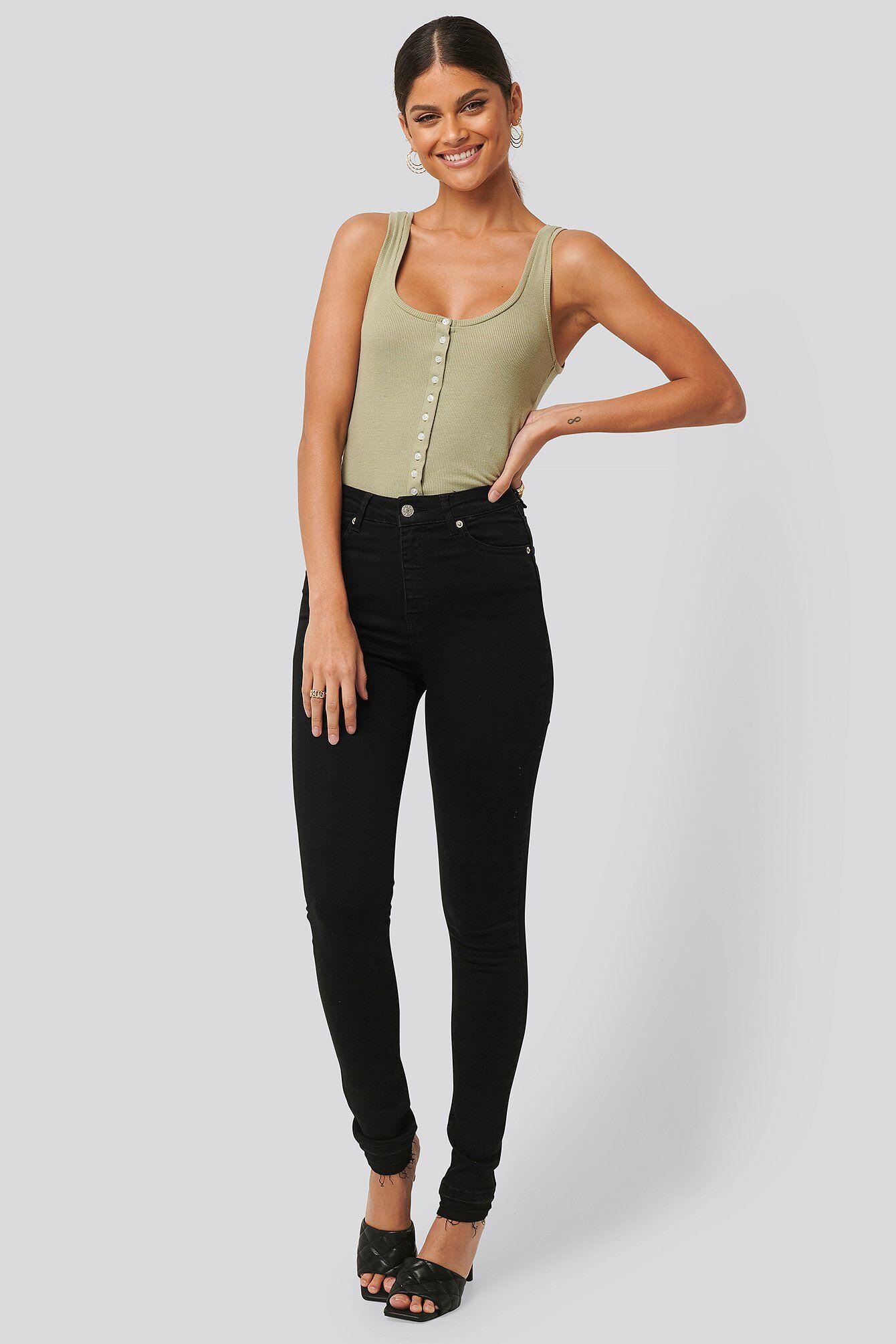 NA-KD Skinny High Waist Open Hem Jeans Tall - Black  - Size: EU 32,EU 34,EU 36,EU 38,EU 40,EU 42,EU 44
