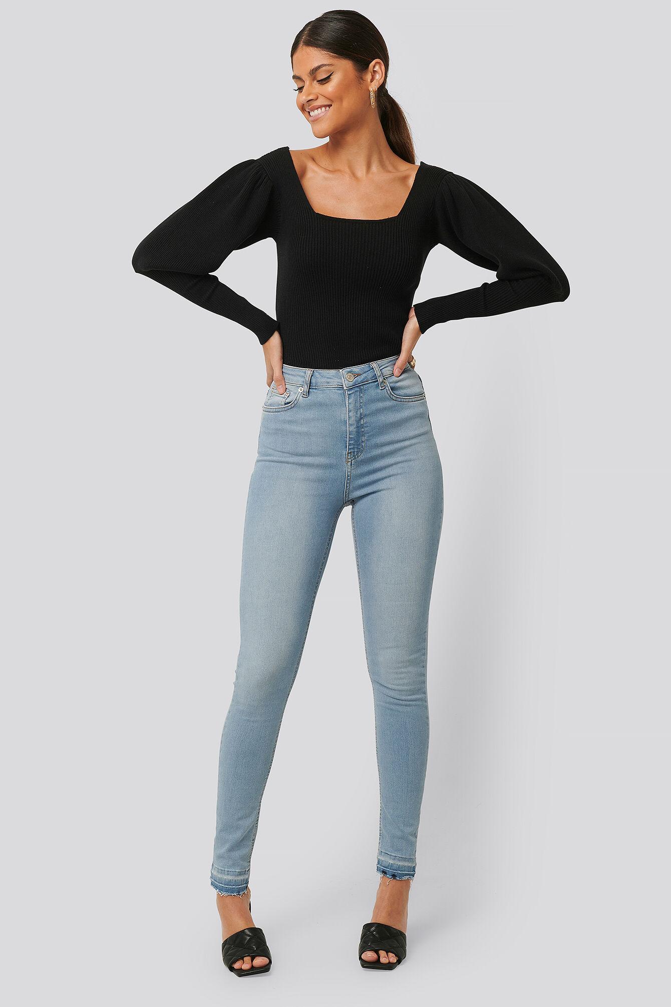 NA-KD Skinny High Waist Open Hem Jeans Tall - Blue  - Size: EU 32,EU 34,EU 36,EU 38,EU 40,EU 42,EU 44