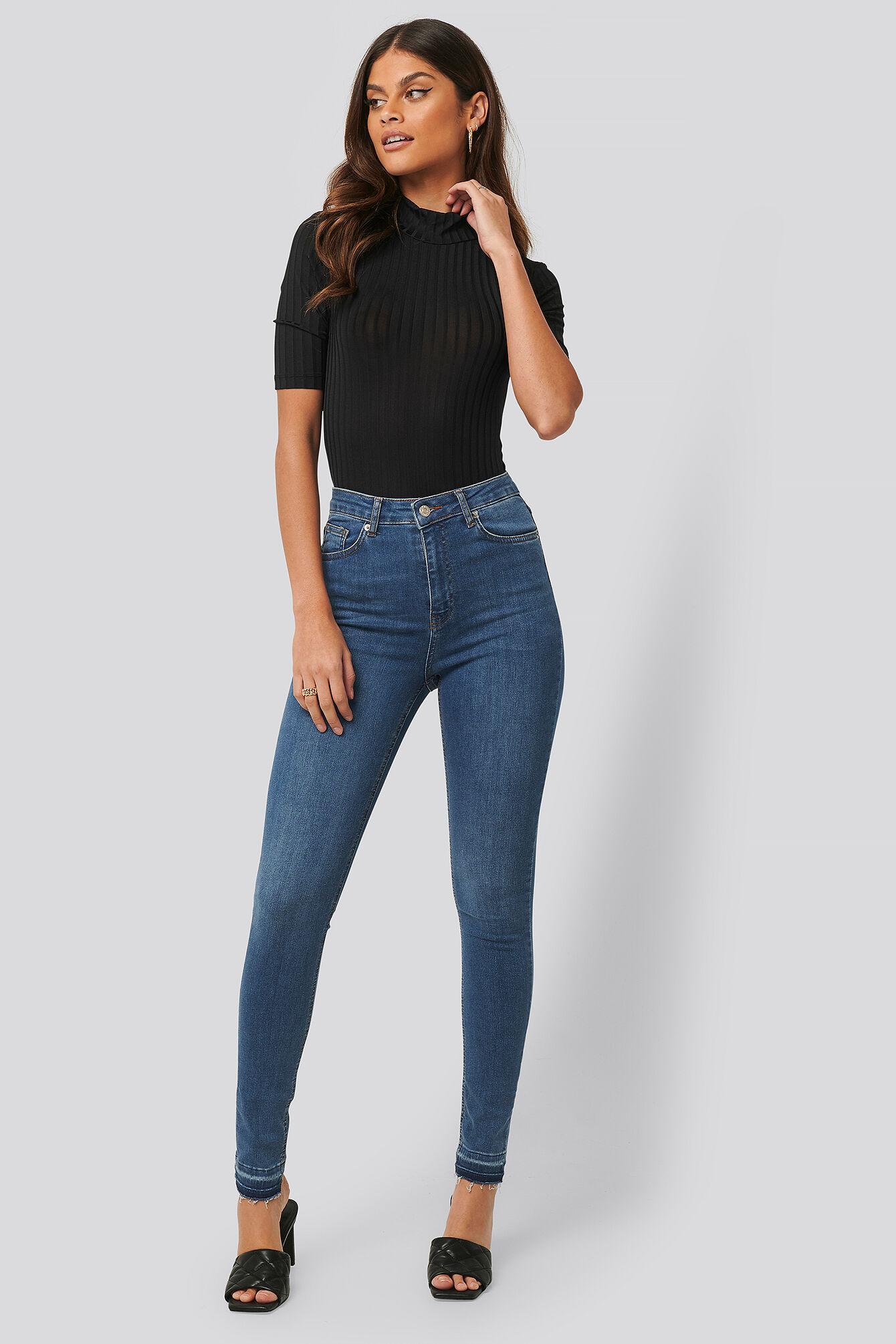 NA-KD Skinny High Waist Open Hem Jeans Tall - Blue  - Size: EU 32,EU 34,EU 36,EU 38,EU 40,EU 42