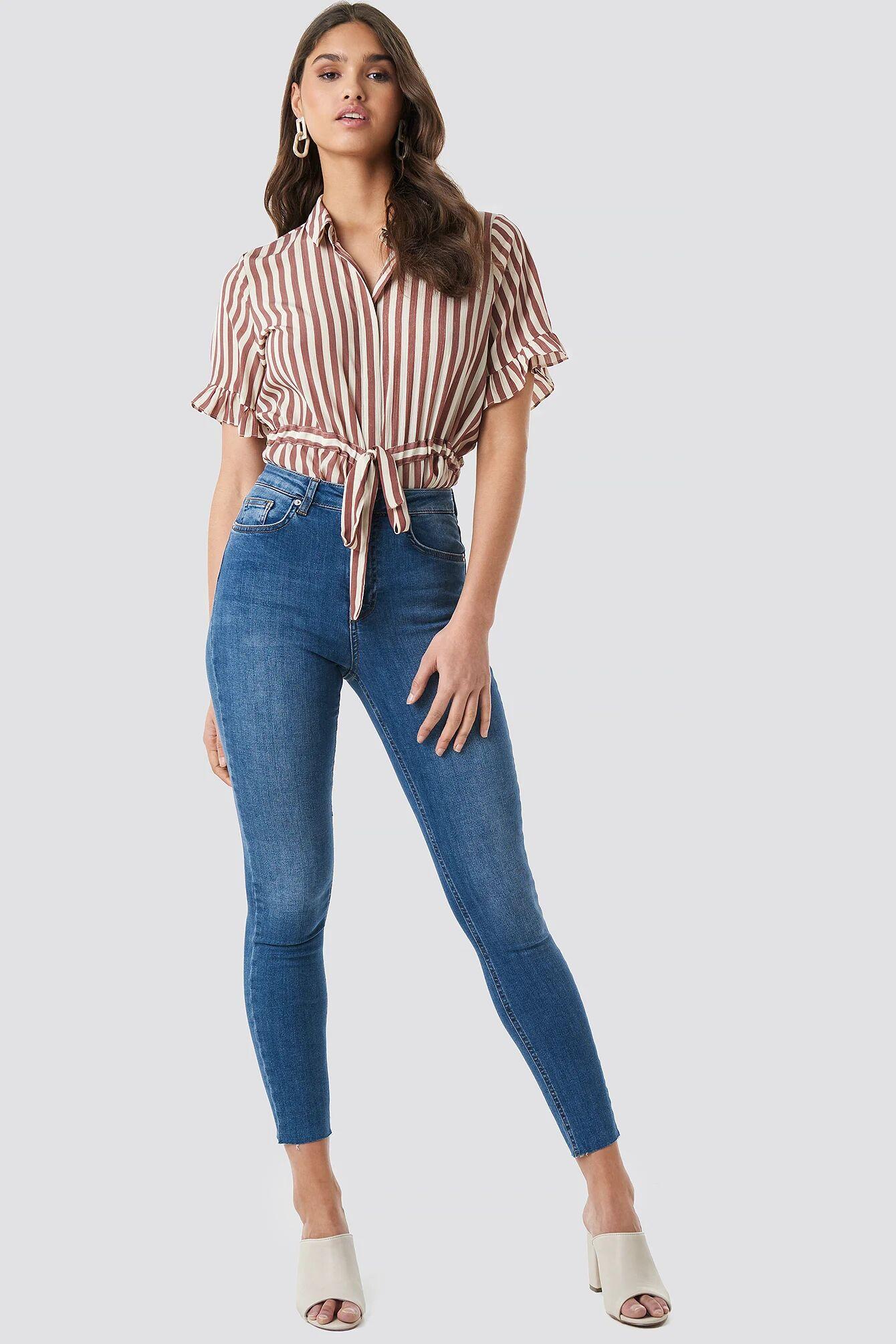 NA-KD Skinny High Waist Raw Hem Jeans - Blue