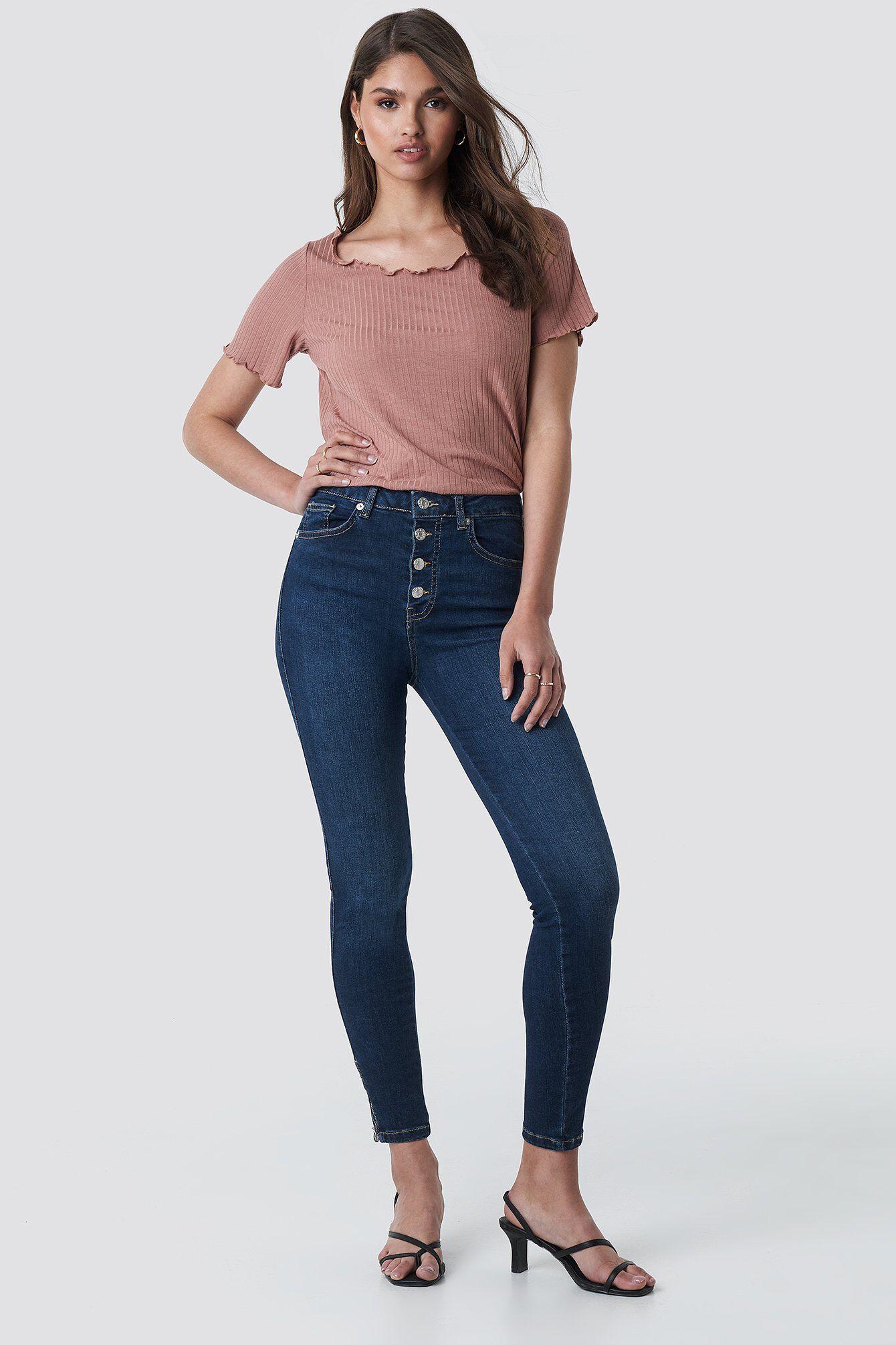NA-KD Skinny High Waist Zipper Jeans - Blue