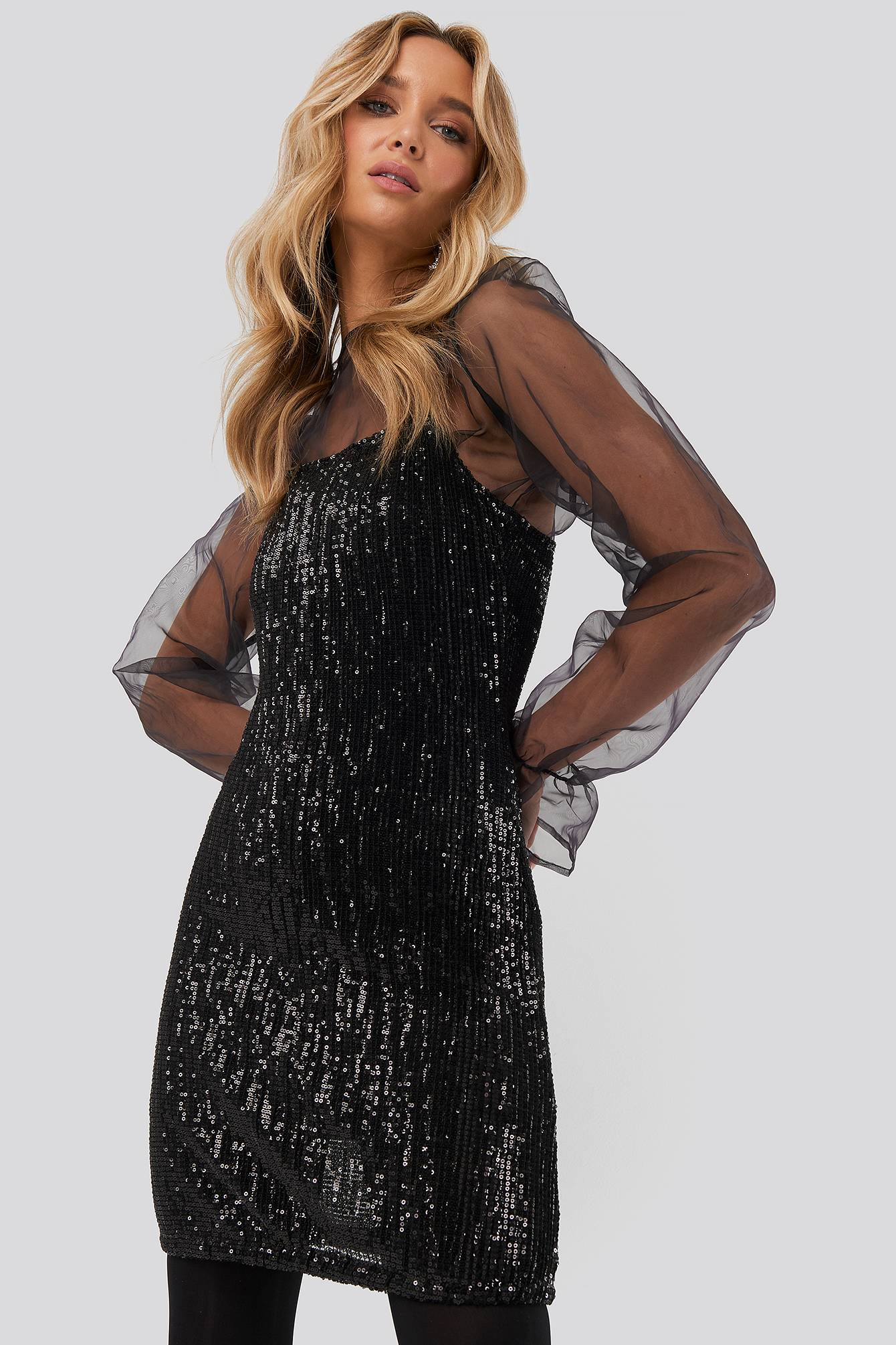 Image of NA-KD Party Spaghetti Strap Sequin Dress - Black