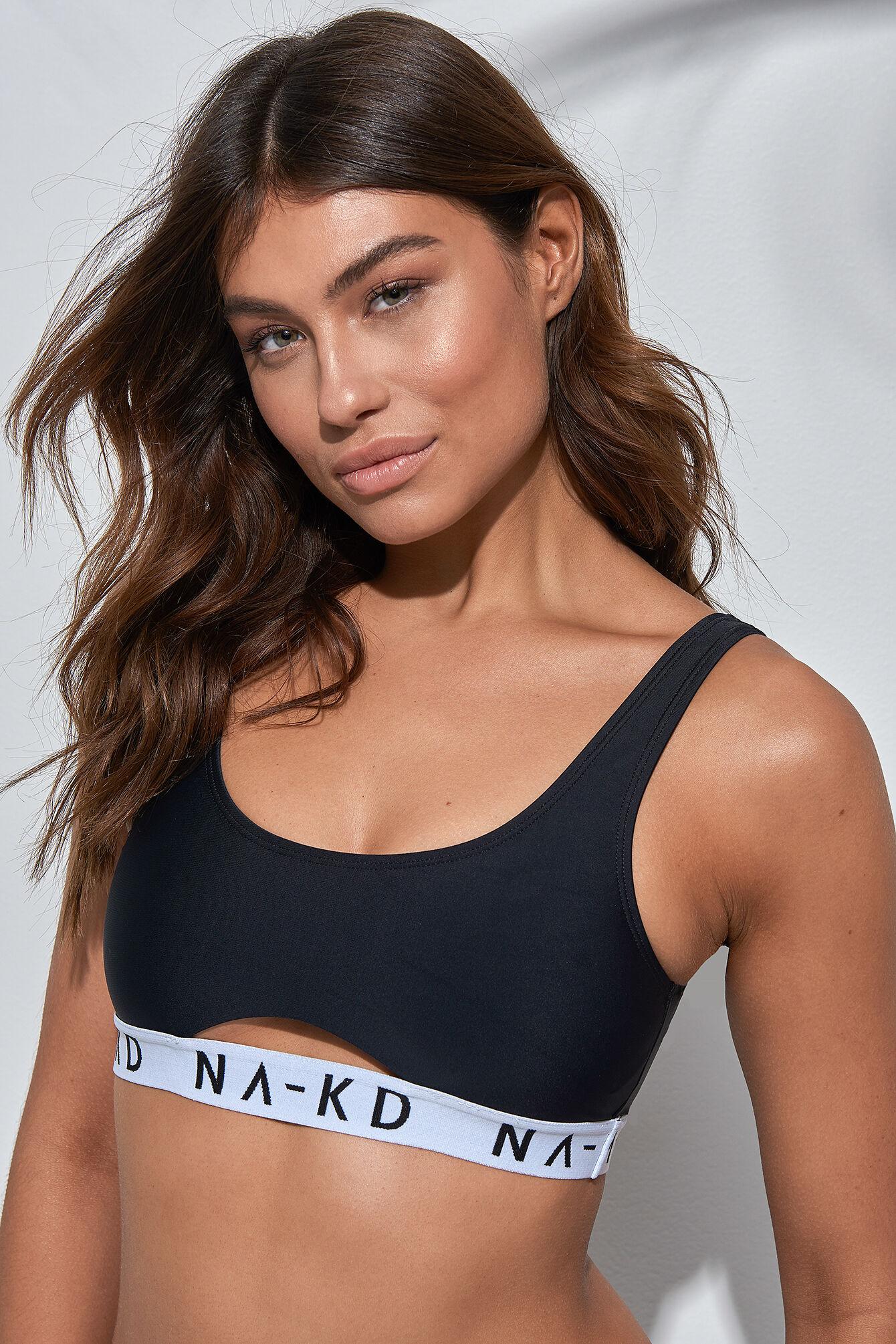 NA-KD Swimwear Sporty Logo Bikini Top - Black